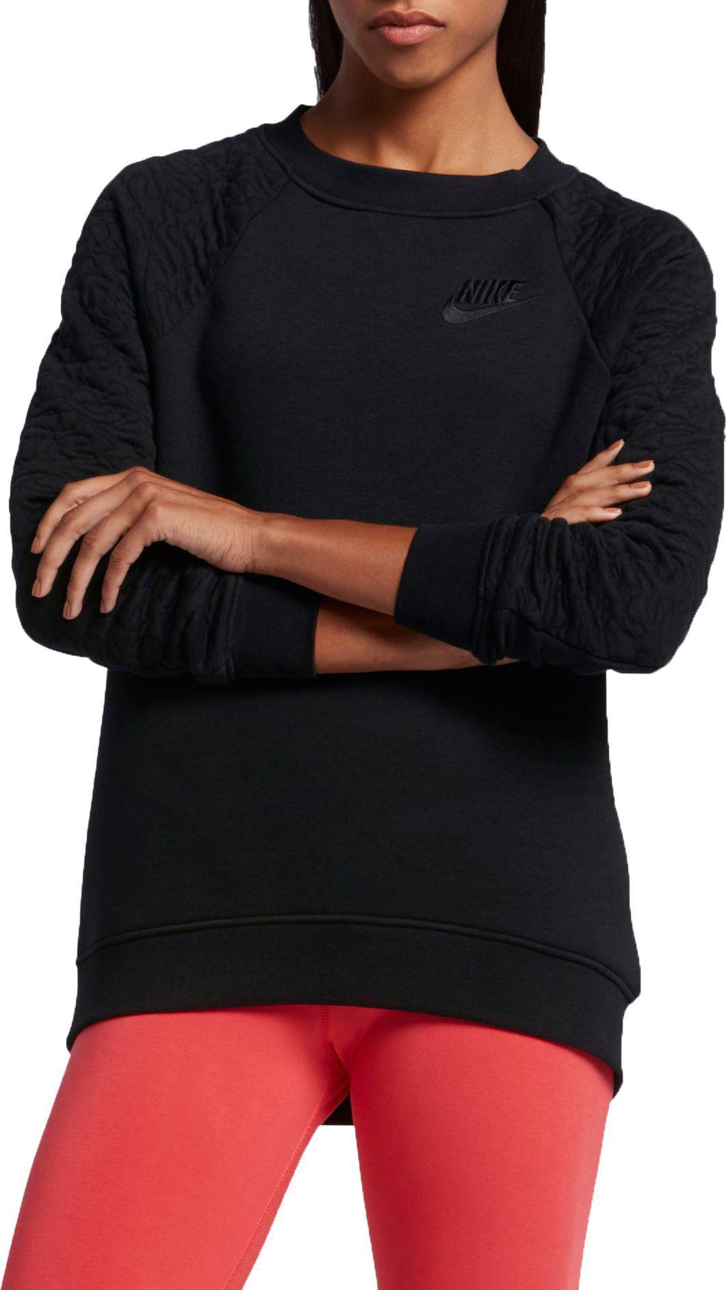 Nike Quilted Sportswear Rally Fleece Crewneck Sweatshirt In Black Lyst [ 1884 x 1061 Pixel ]