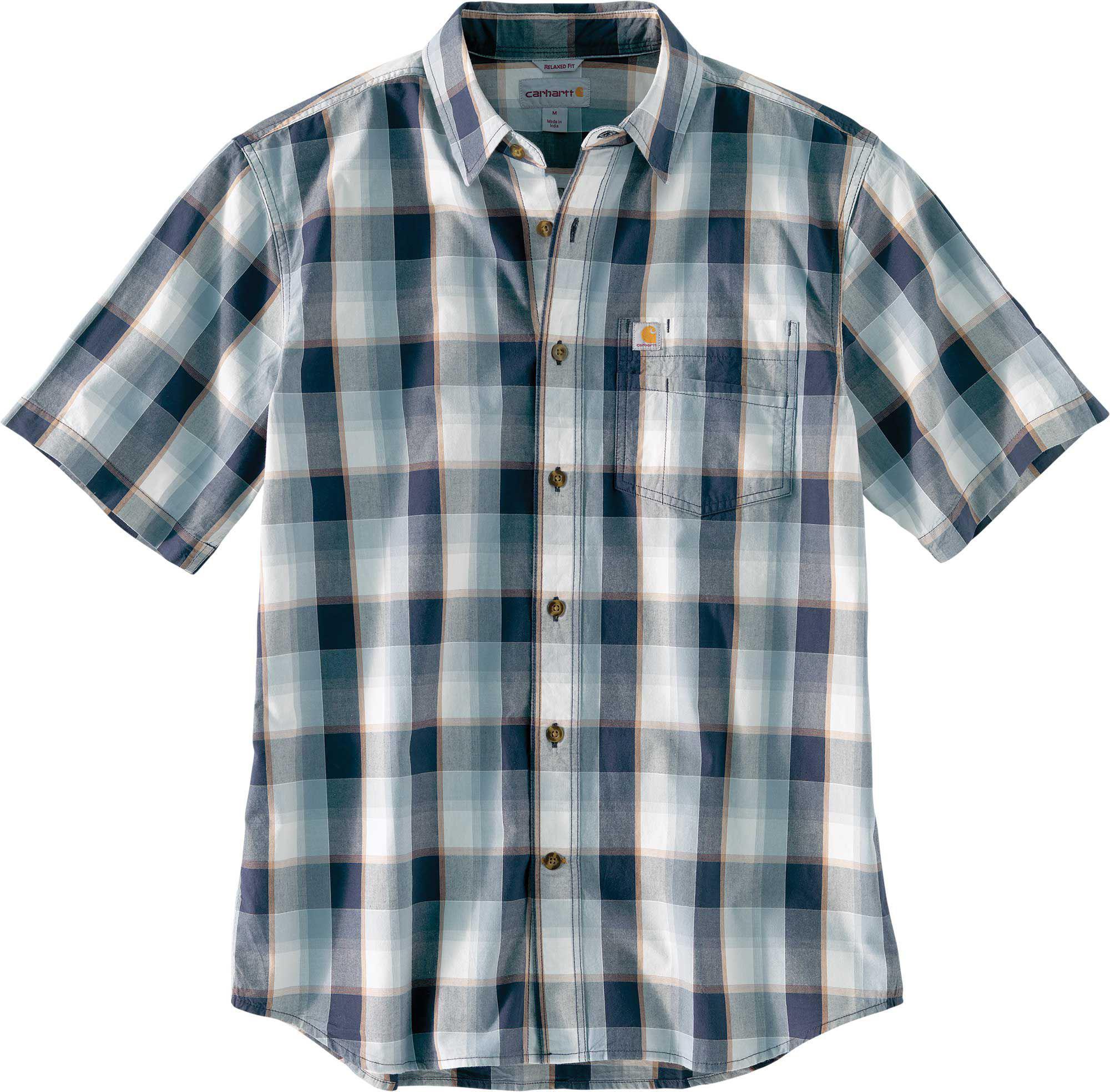 31f03cdbd49 Carhartt. Men s Blue Essential Plaid Open Collar Short Sleeve Button Down  Shirt