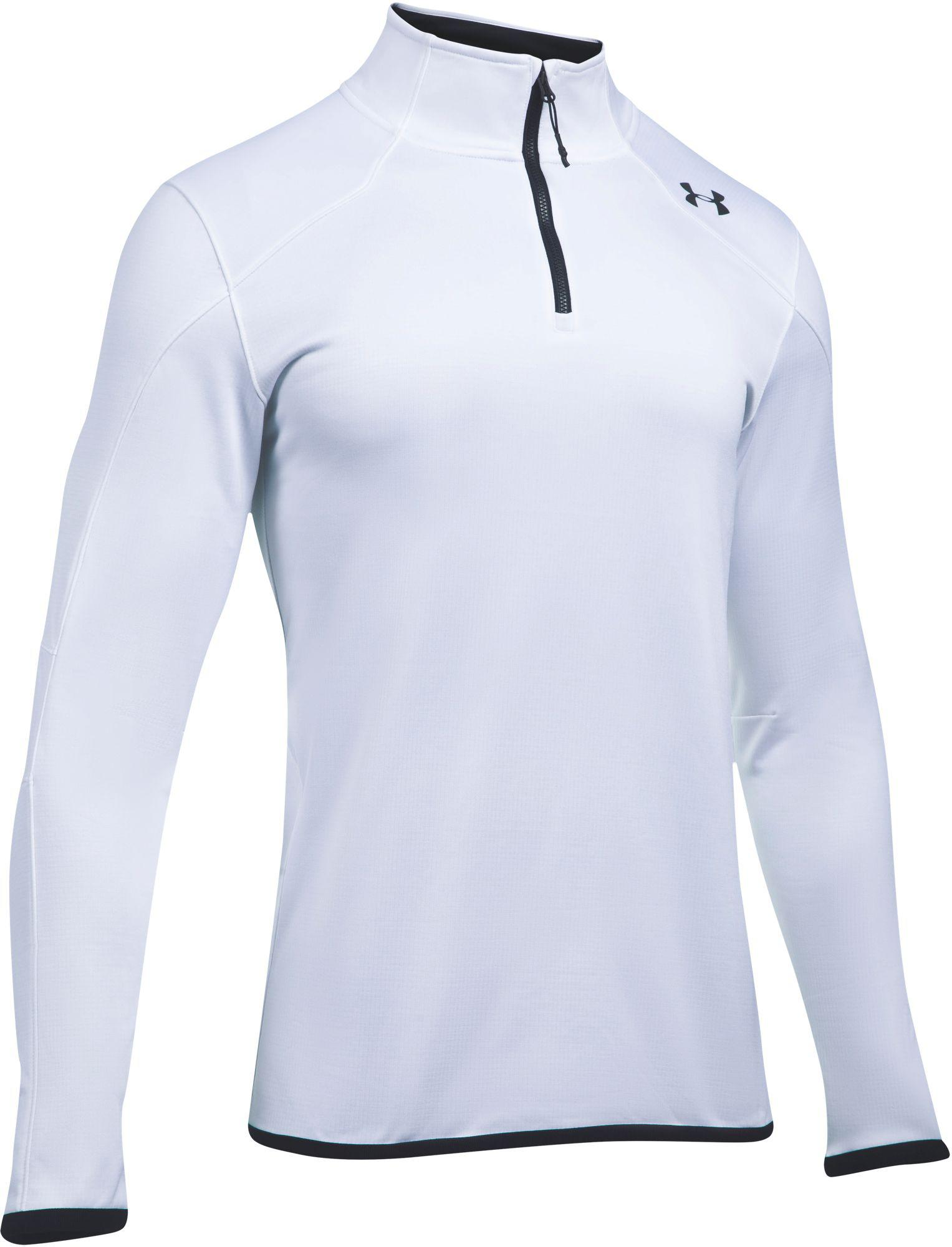 c2c9fb50 Under Armour Coldgear Reactor 1/4 Zip Long Sleeve T-shirt in White ...