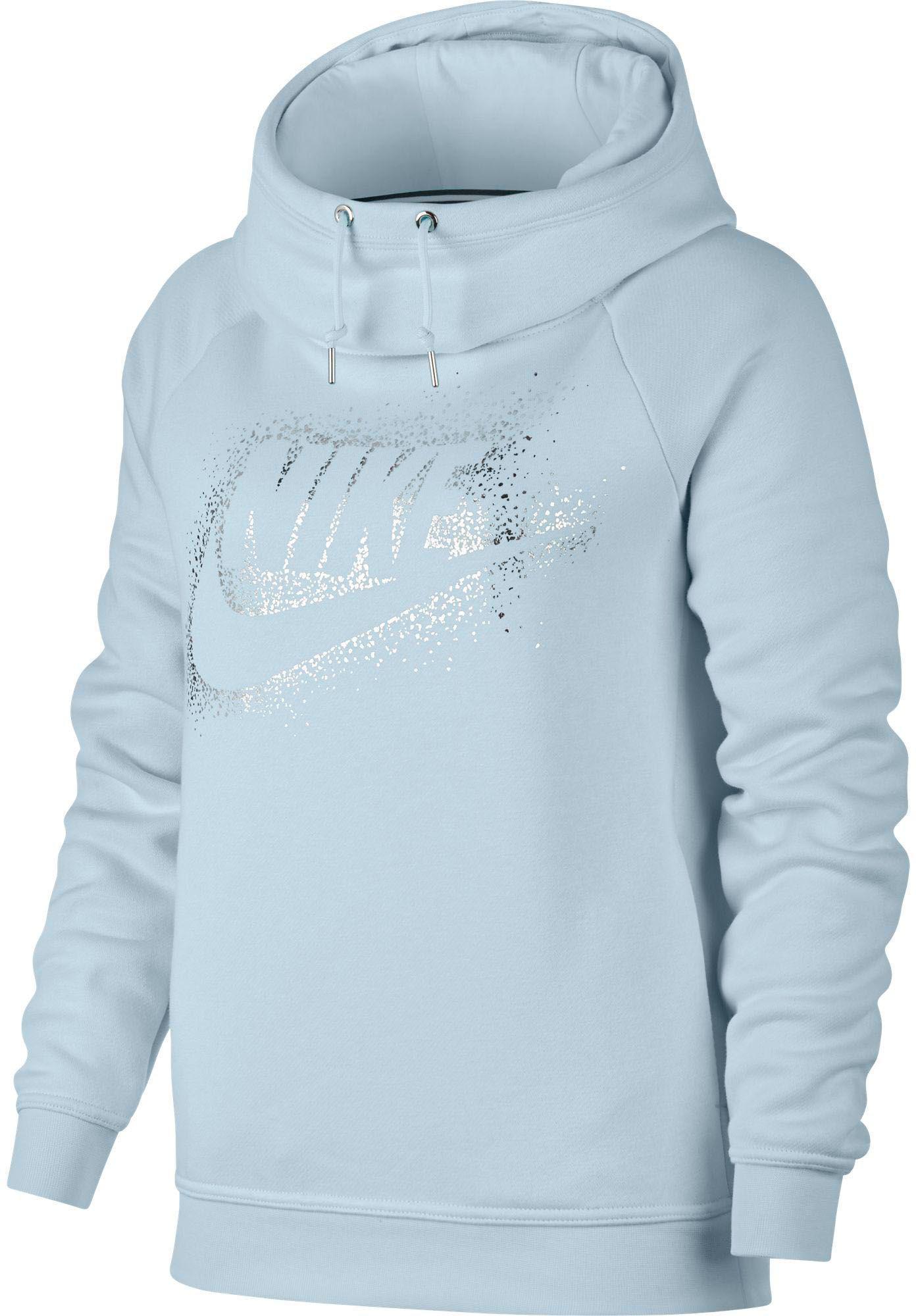 1086b0e6de11 Lyst - Nike Sportswear Rally Metallic Funnel Neck Graphic Hoodie in Blue