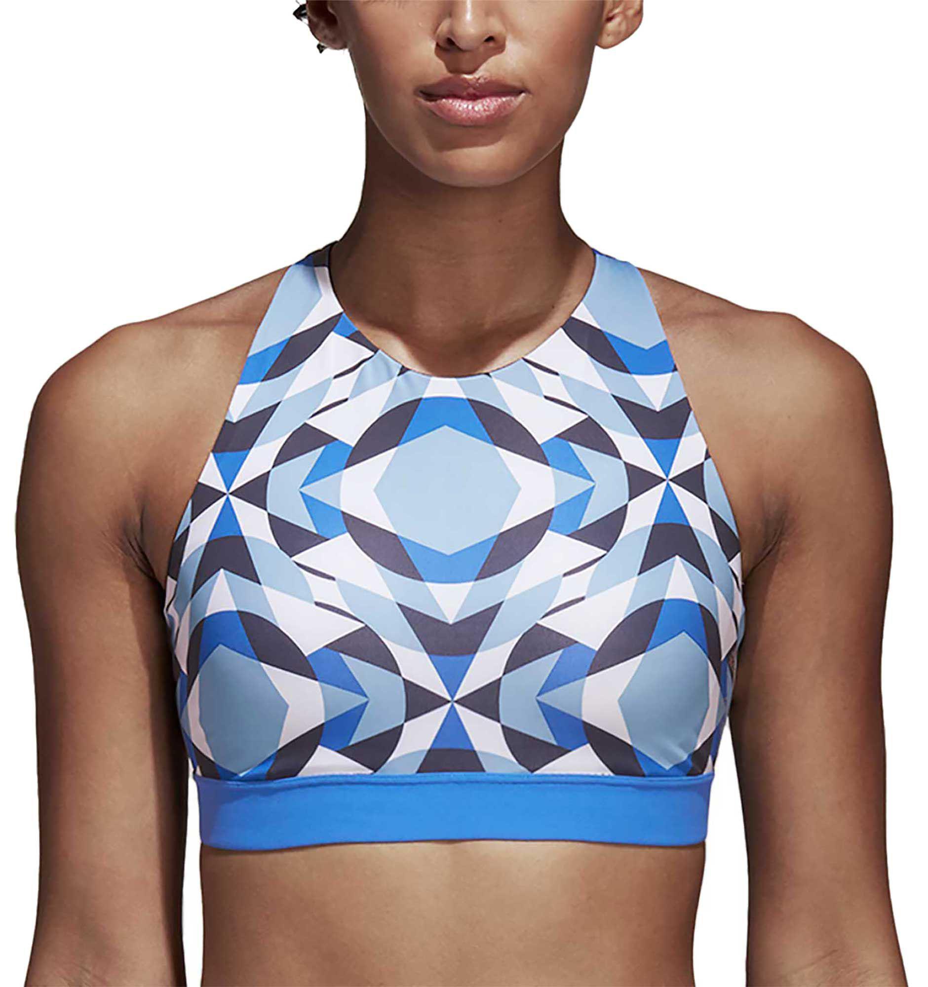 34aade9a0d Lyst - adidas Wanderlust Yoga Halter Sports Bra in Blue