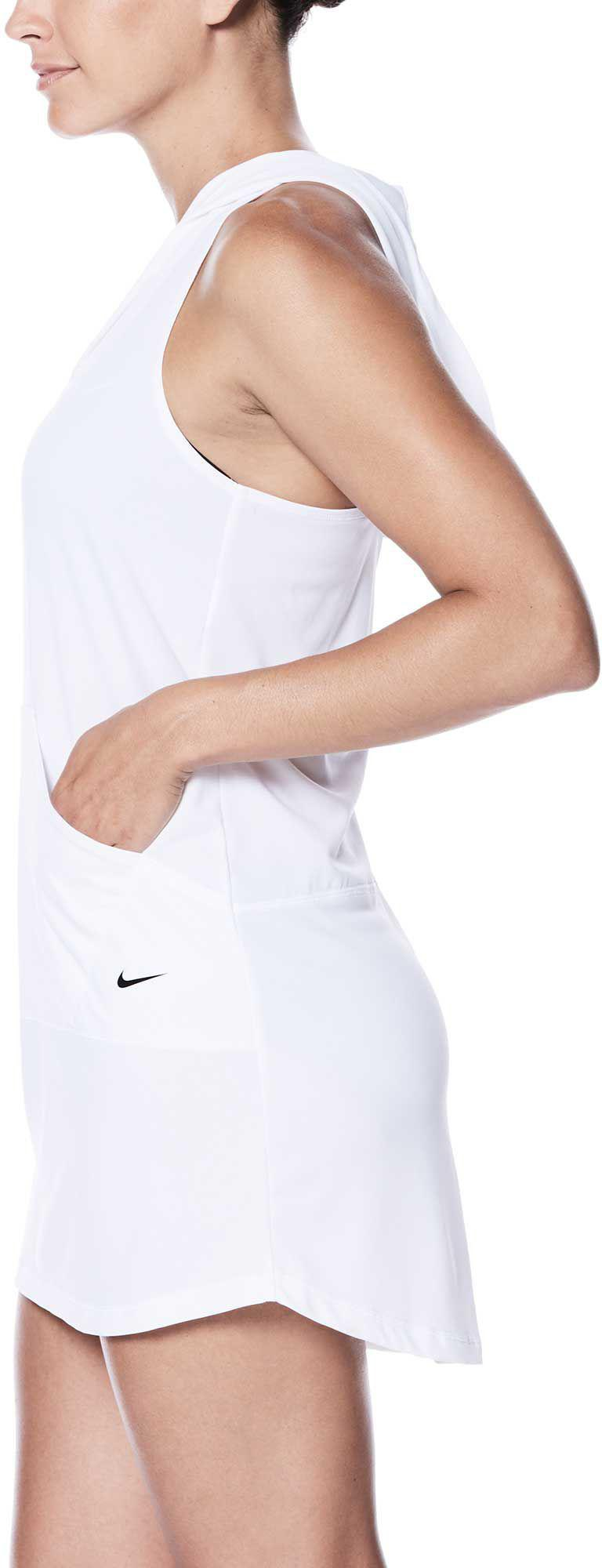 016abe28a12ab Nike Hooded Swimsuit Cover-up Dress in White - Lyst