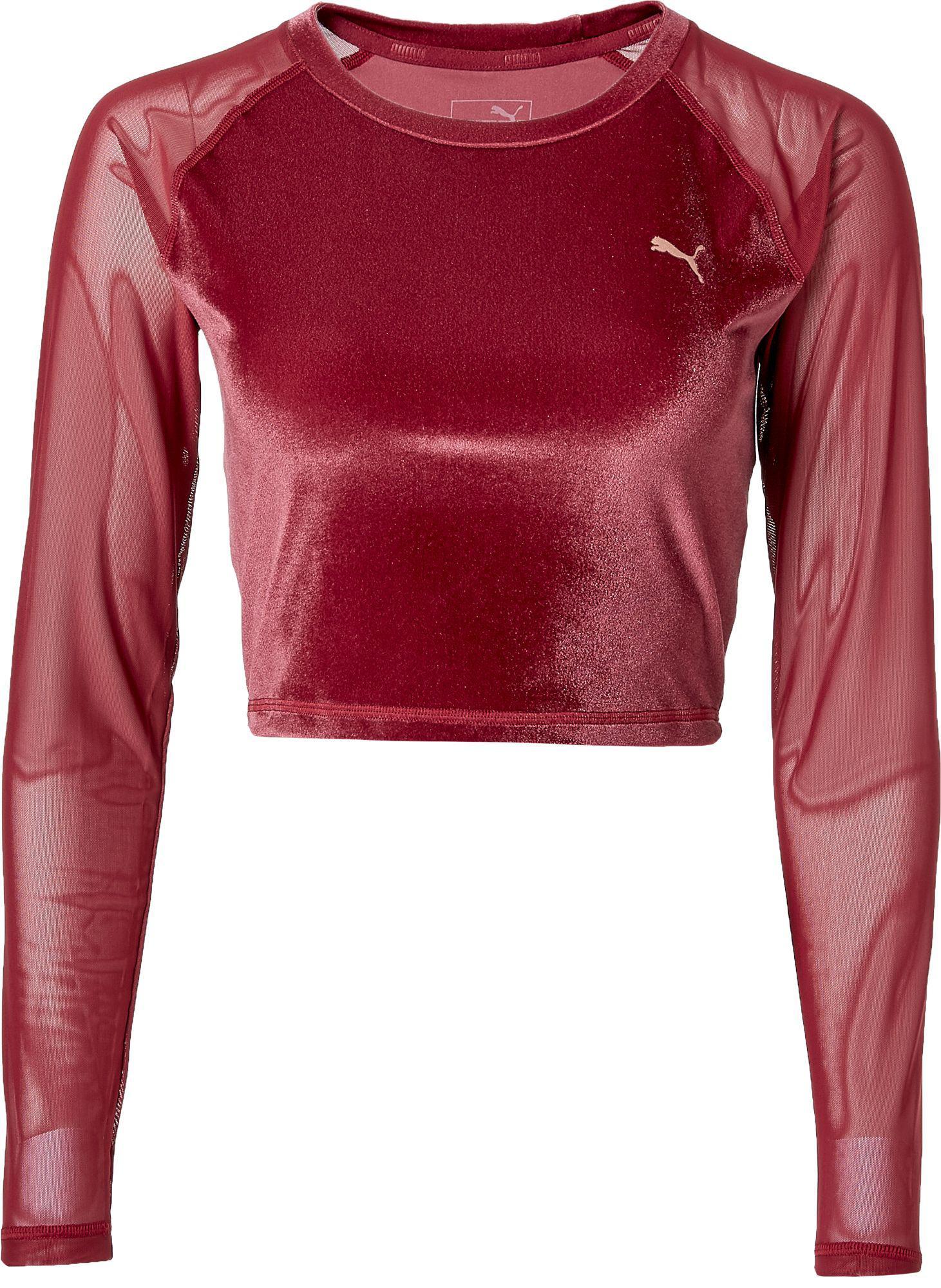 2f6d64f87f9b63 Lyst - PUMA Explosive Velvet Crop Top in Red