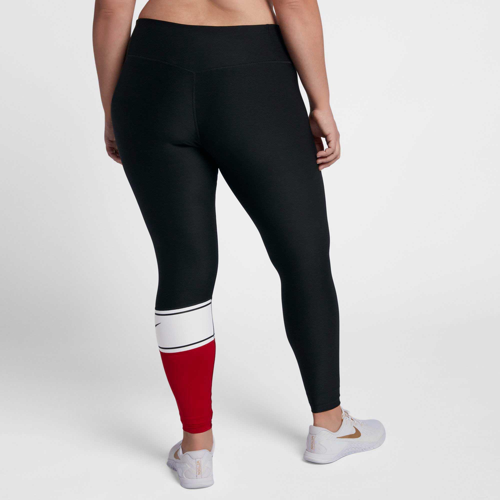 b2a1de61dc7 Lyst - Nike Plus Size Power Colorblock Training Tights in Black