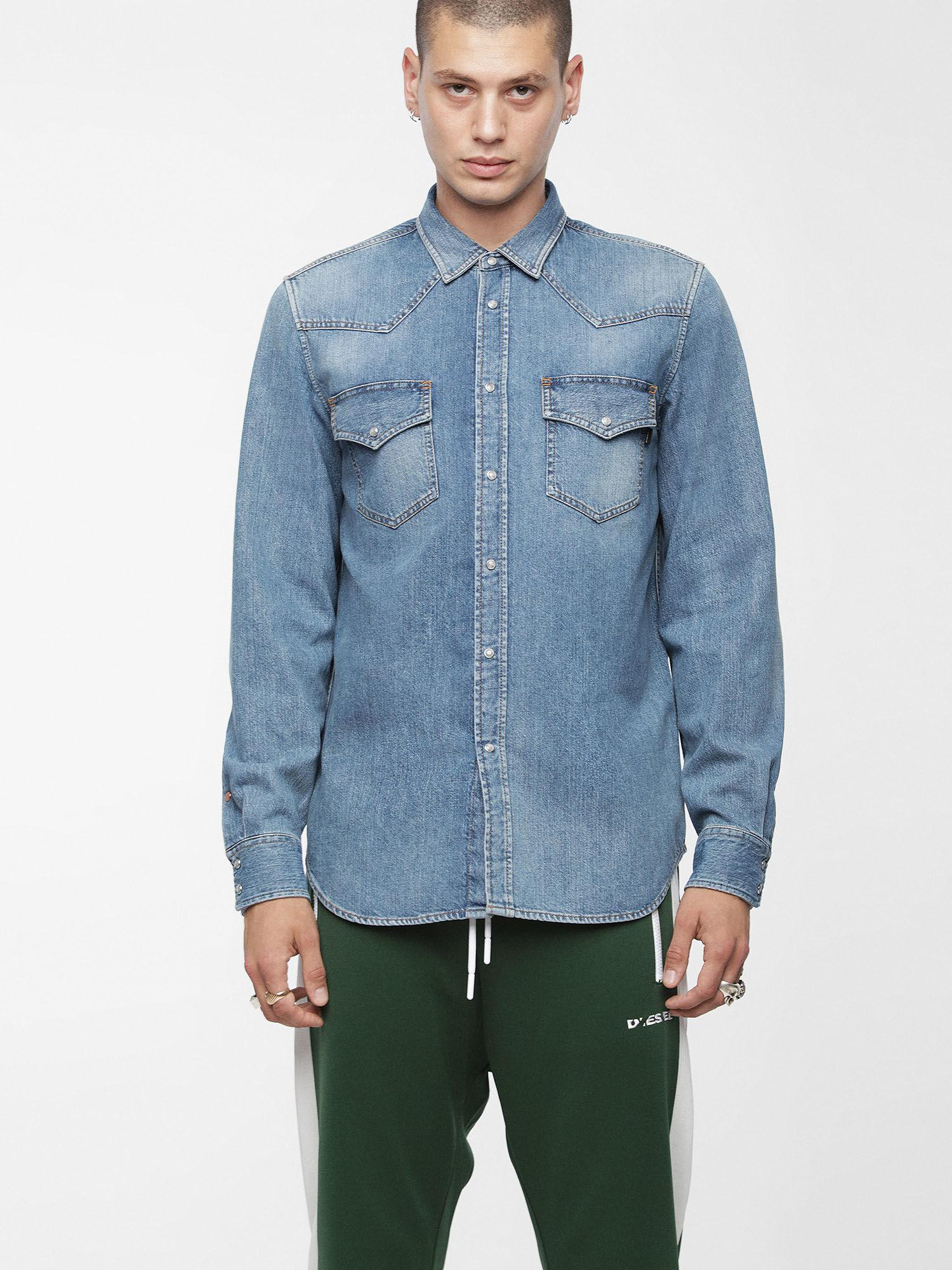 431a6e183a DIESEL - Blue Denim Shirt With Vintage Wash for Men - Lyst. View fullscreen
