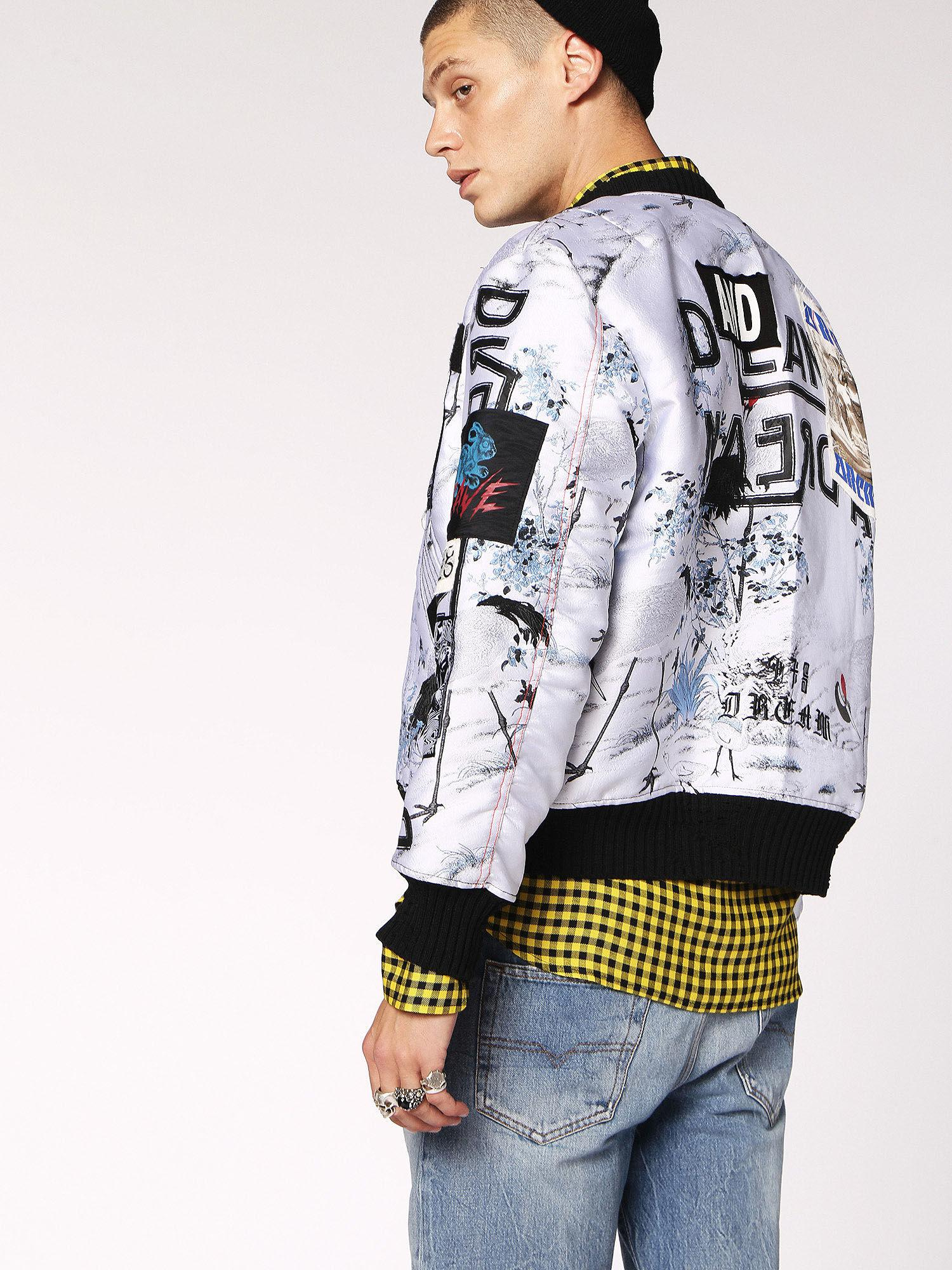 0182c1d7c1 DIESEL Multicolor Jacquard Bomber Jacket With Graphic for men