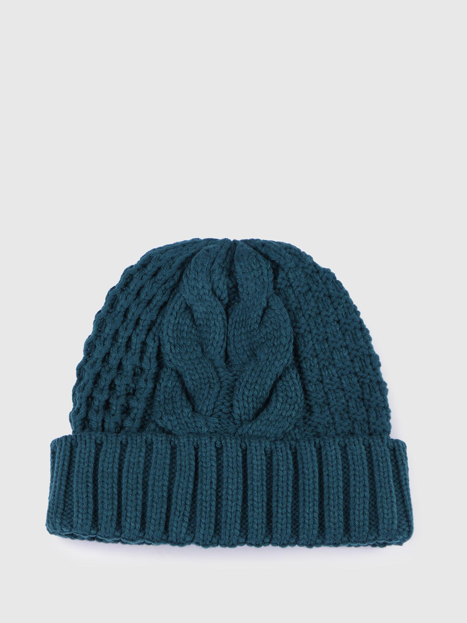 706e7208d04 Lyst - DIESEL Knitted Hat With Ribbed Turn-up in Green