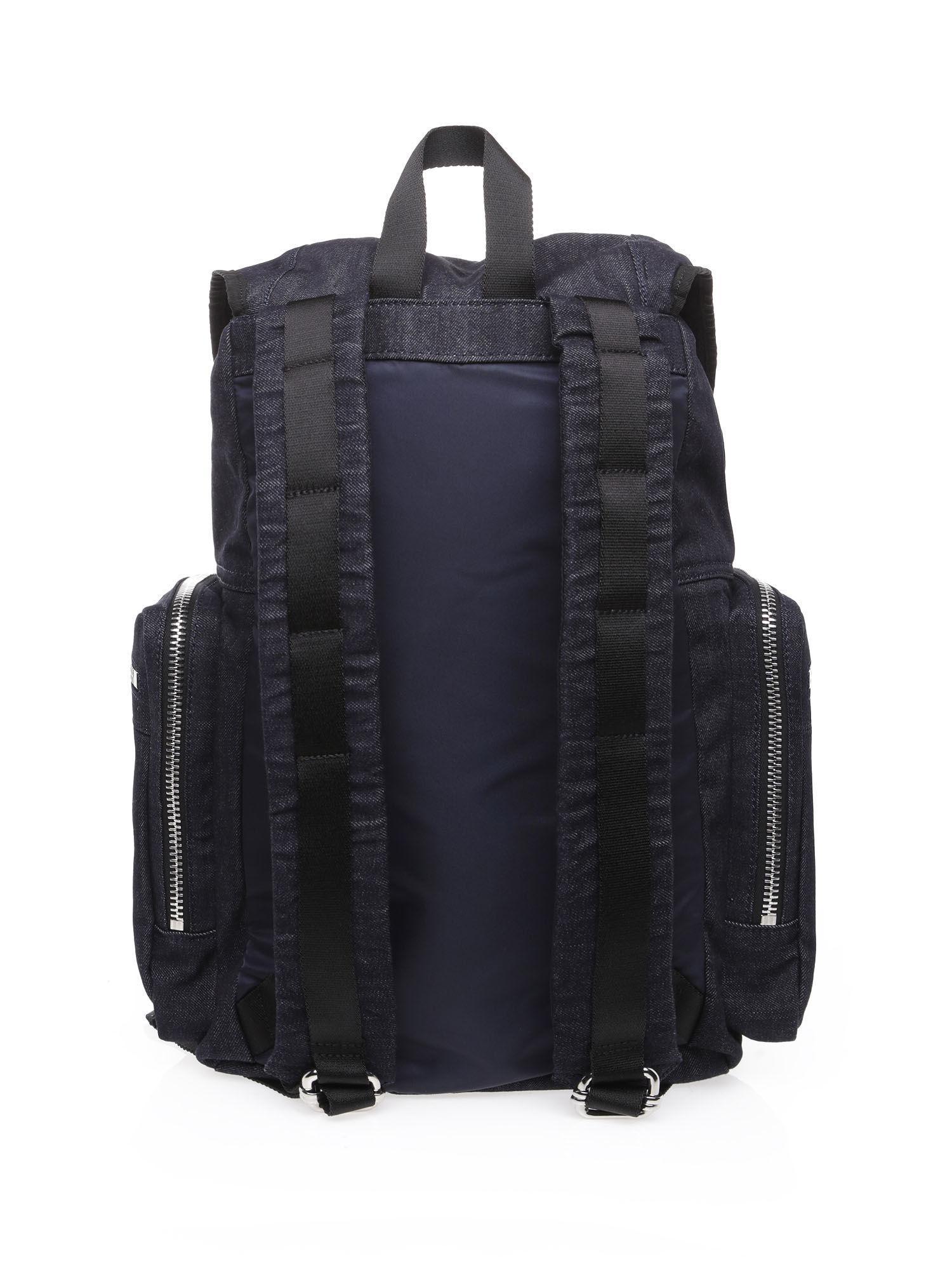 deee54146fd5 DIESEL - Blue Denim Backpack With Metal Accessories for Men - Lyst. View  fullscreen