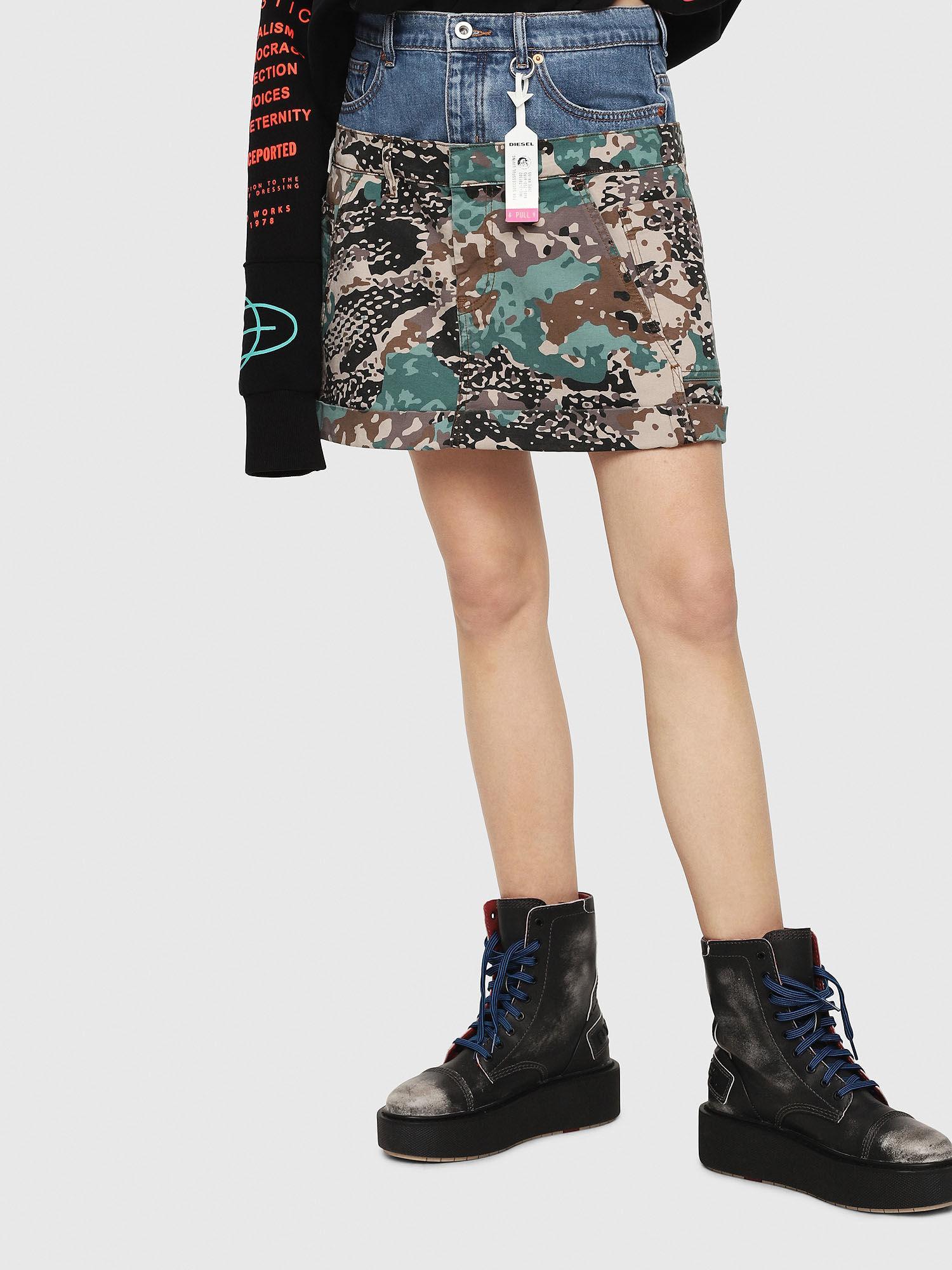 adb373a0c9b DIESEL. Women s Hybrid Skirt In Cotton And Denim