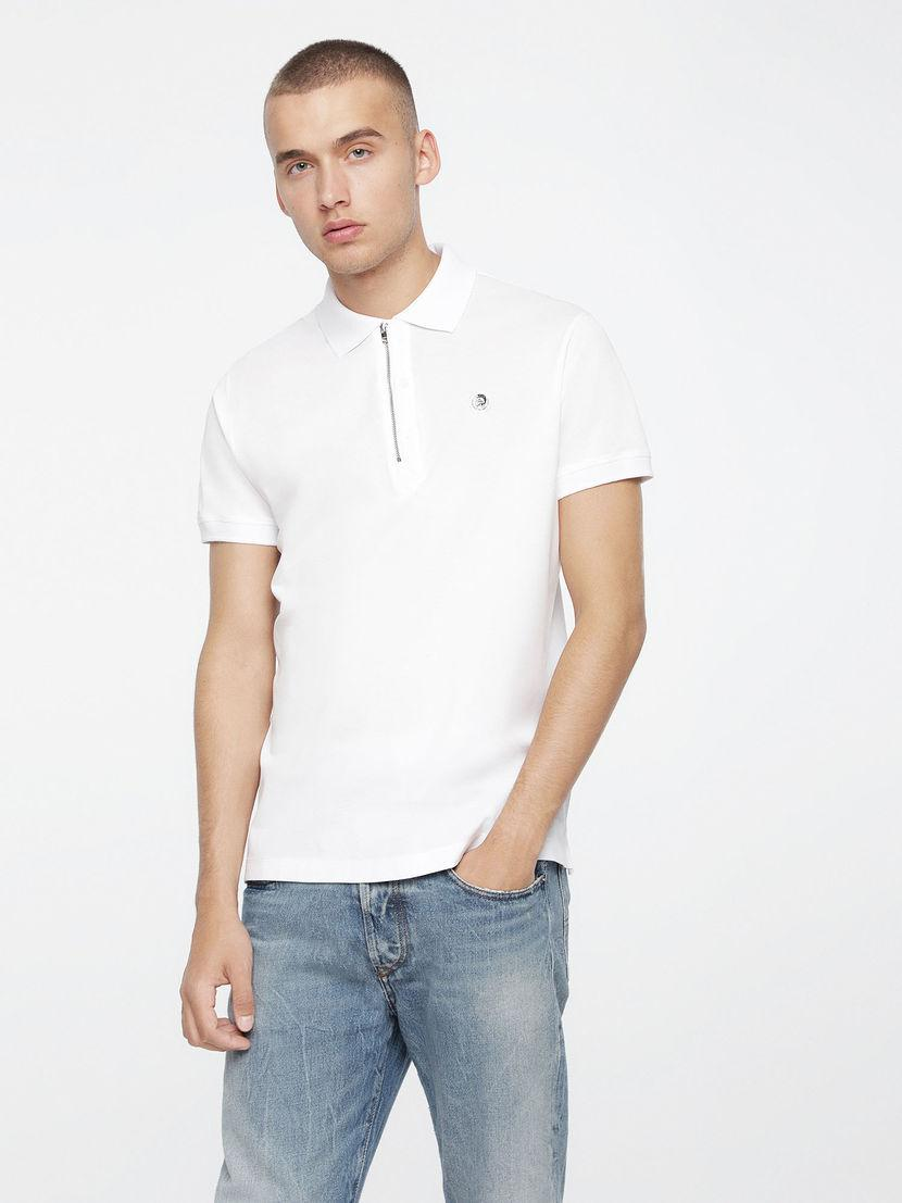 32acf0fa Diesel Stretch-cotton Piquet Polo in White for Men - Lyst