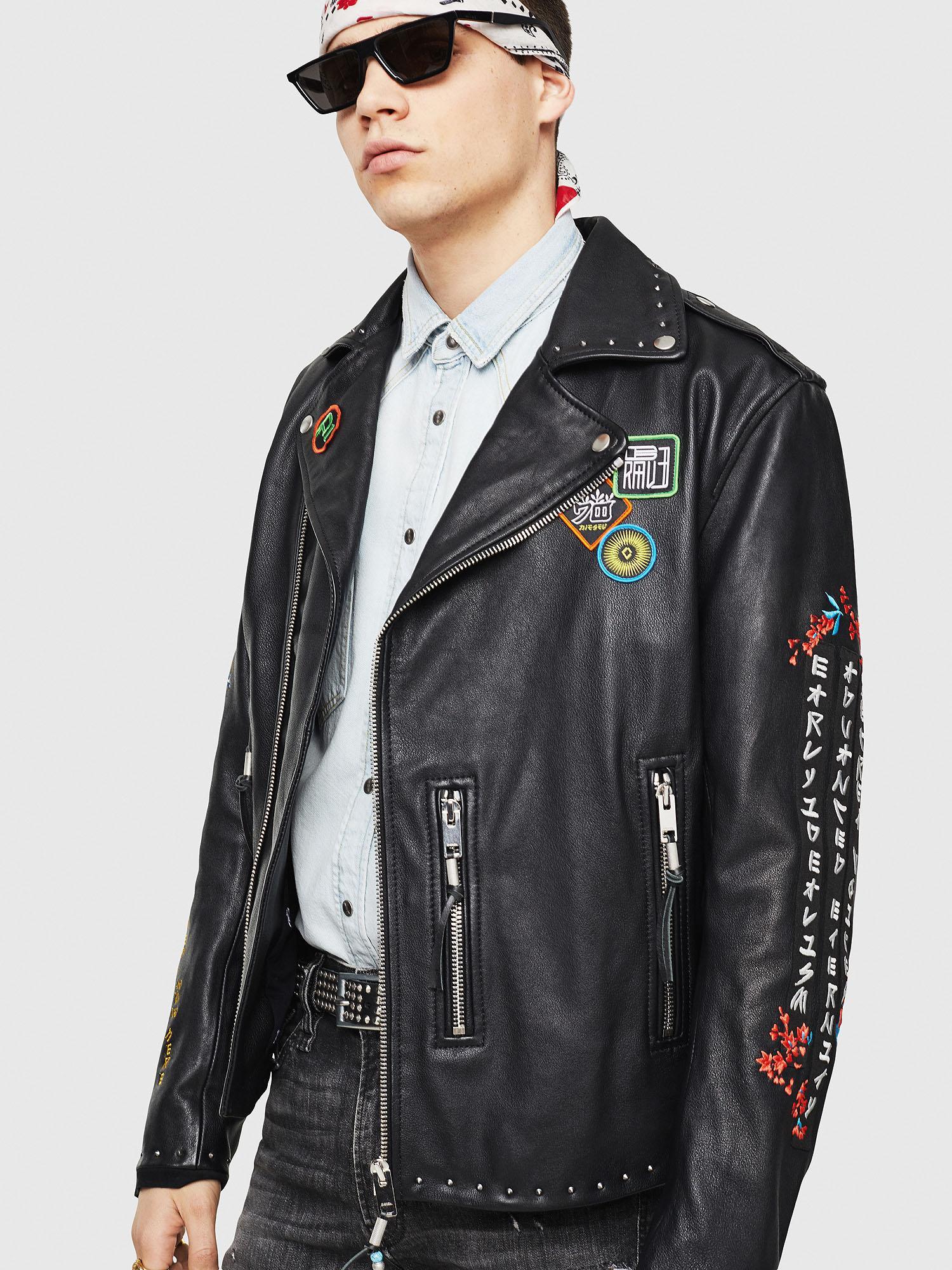 41ea25af91e9 Lyst - DIESEL Embroidered Biker Jacket In Leather in Black for Men