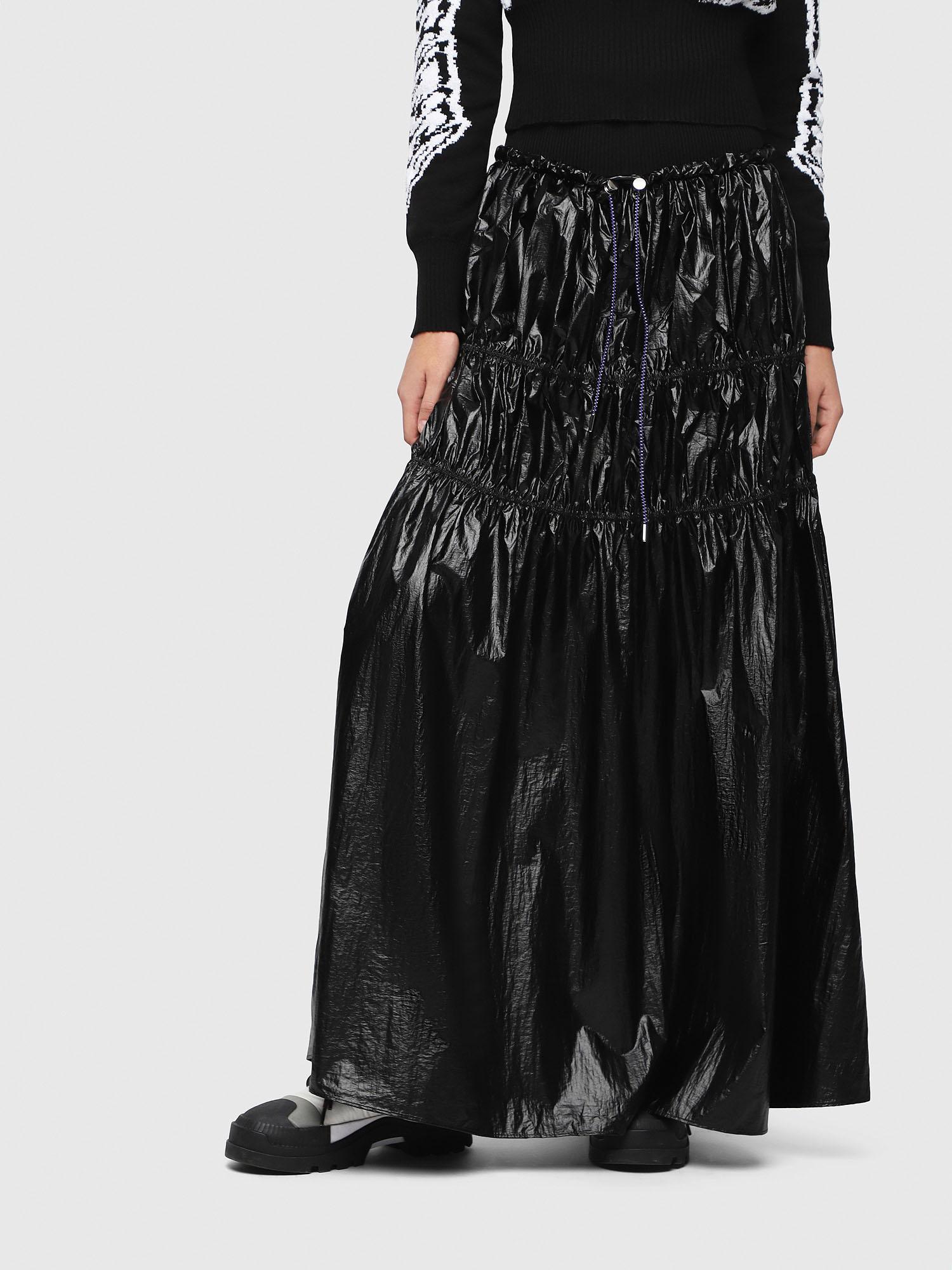 3d1e797422 DIESEL - Black Tiered Nylon Maxi Skirt - Lyst. View fullscreen