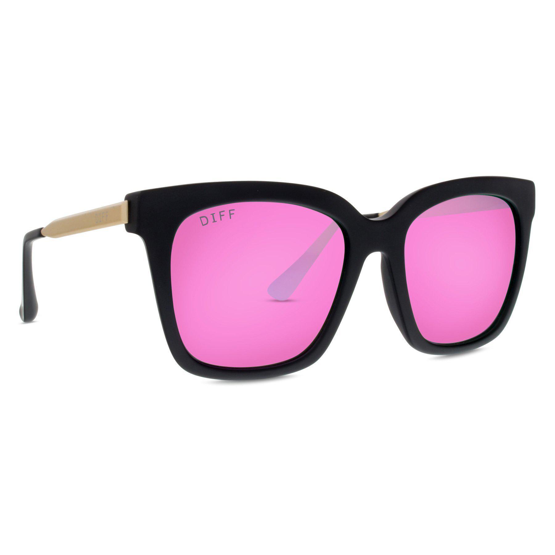 1d60015609862 DIFF Bella - Matte Black + Pink Mirror + Polarized in Pink - Lyst