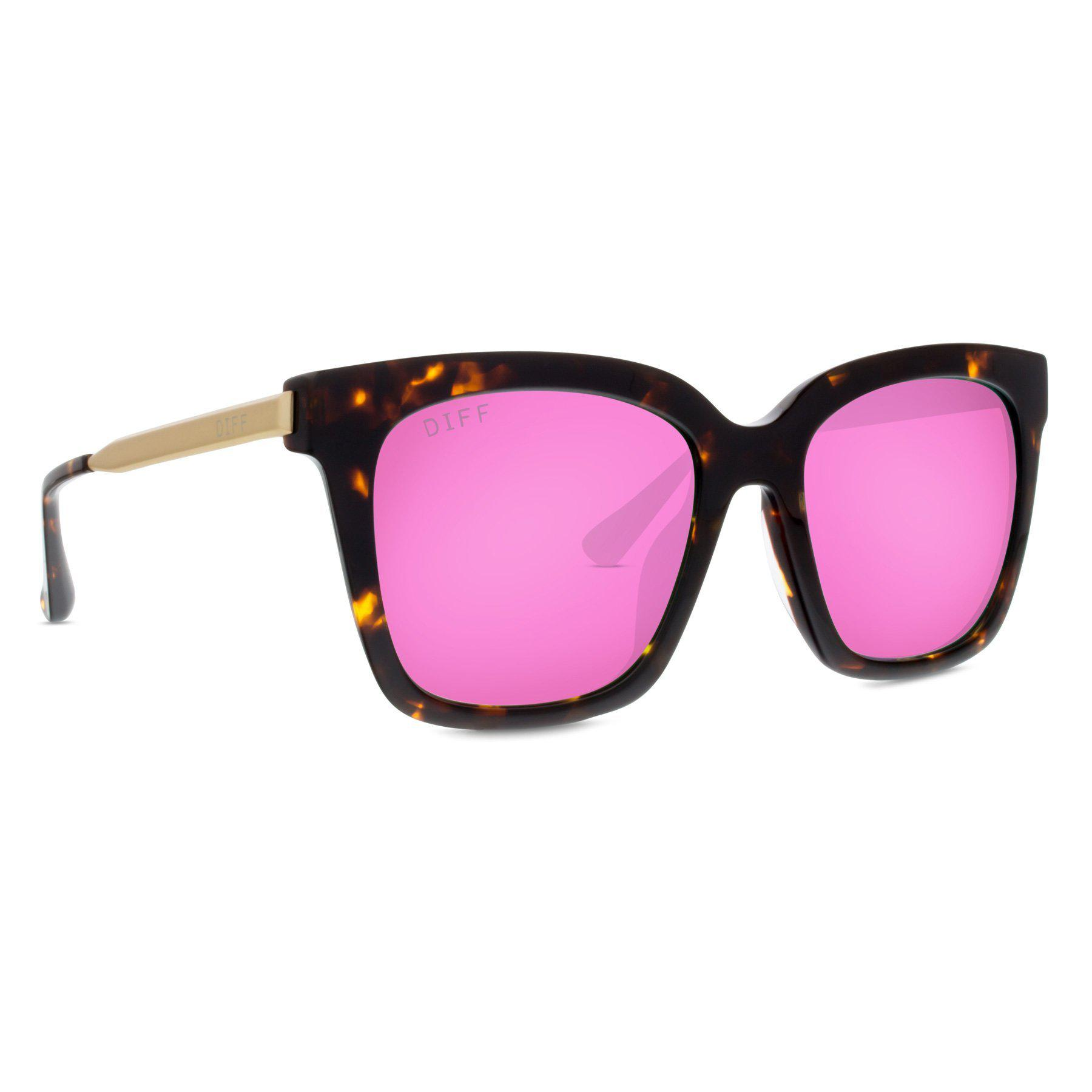 02a0b4de4a8 Lyst - DIFF Bella - Tortoise + Pink Mirror + Polarized in Pink