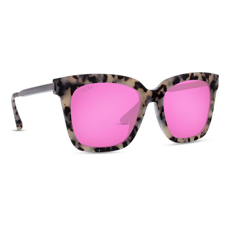1e0323be9e Lyst - DIFF Bella - Cookies   Cream + Pink Mirror + Polarized in Pink