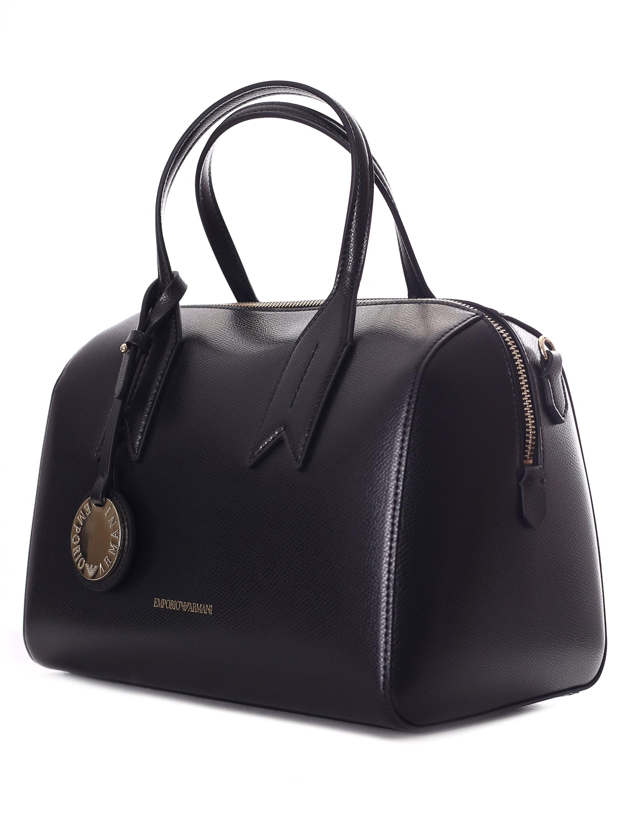 62d9df04ea Emporio Armani Bauletto Bowling Bag in Black - Lyst