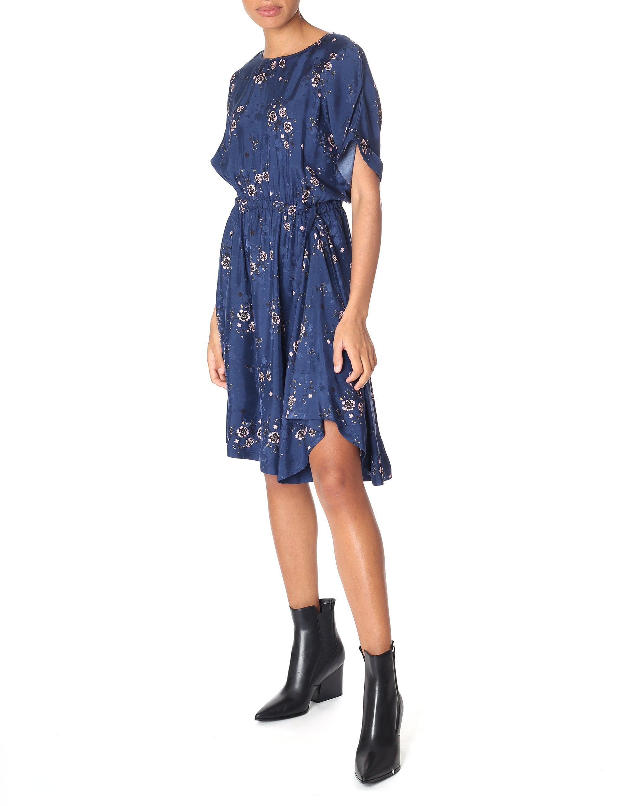 3e1b867c97ded KENZO Cheongsam Flower Flounced Dress in Blue - Lyst
