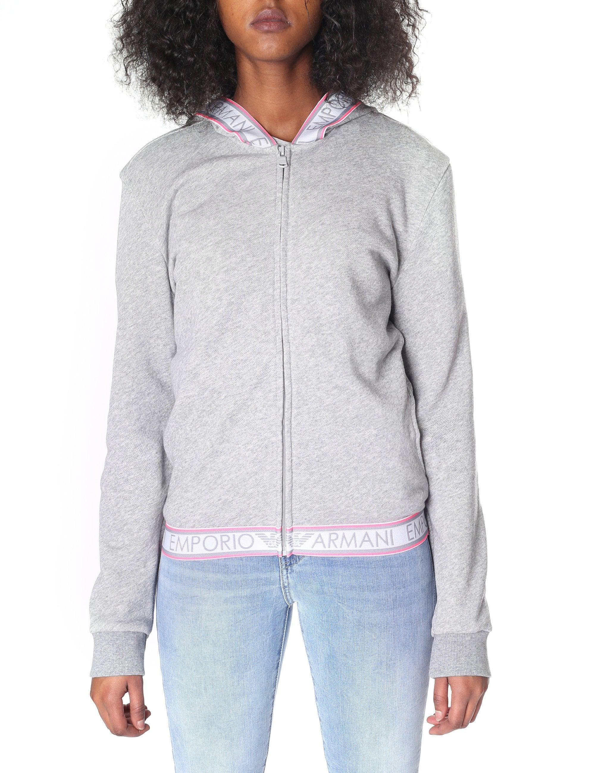 c4d3da505c Emporio Armani Logo Tape Zip Through Hooded Sweat Top in Gray - Lyst