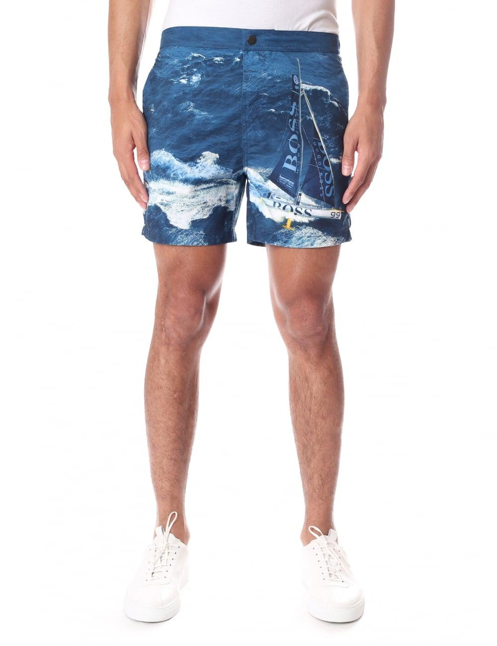 69aa568dd8 Lyst - Boss Black Blackfish Men's Ocean Print Swim Shorts Navy in ...