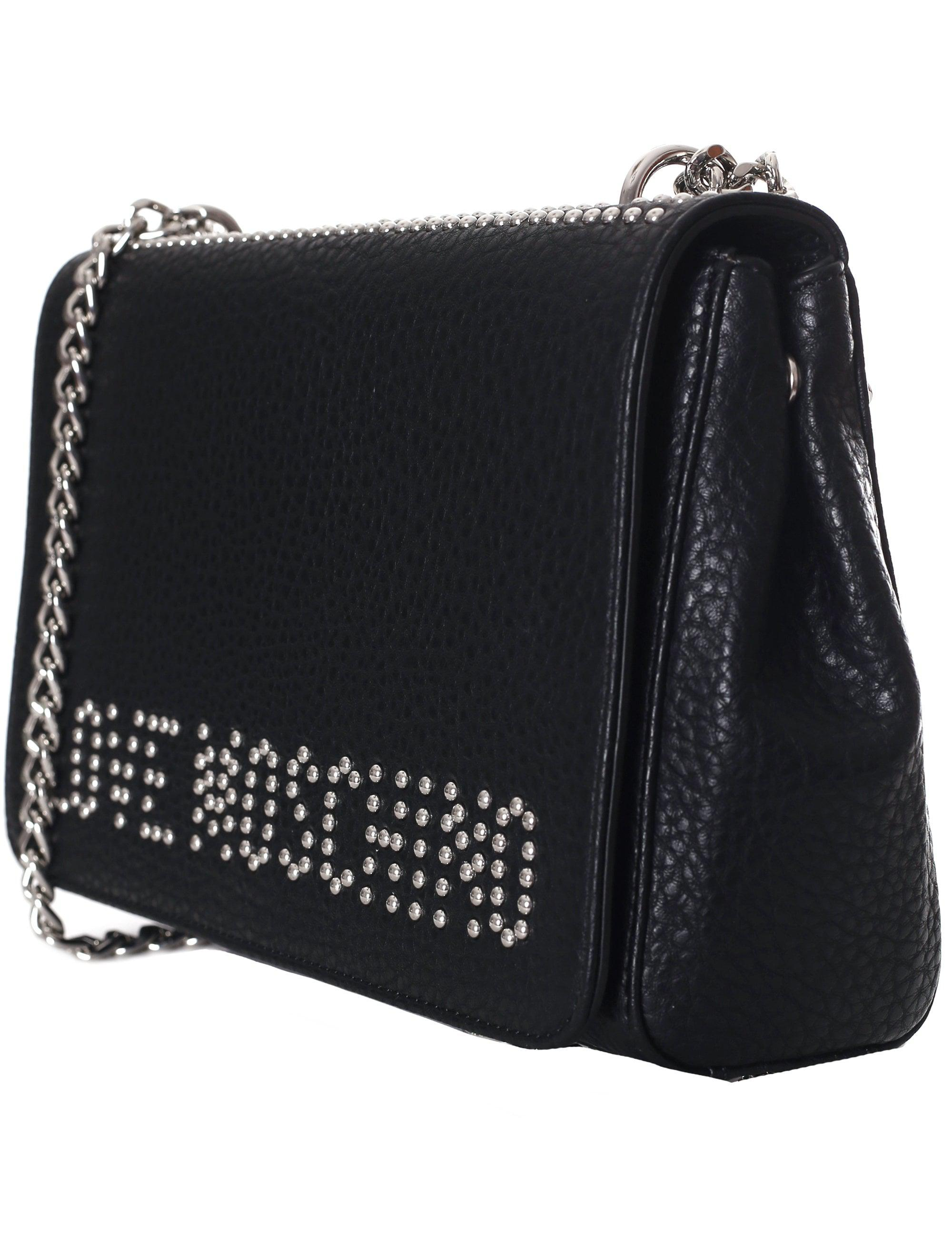 7e318731d1e Love Moschino Studded Logo Chain Shoulder Bag in Black - Lyst
