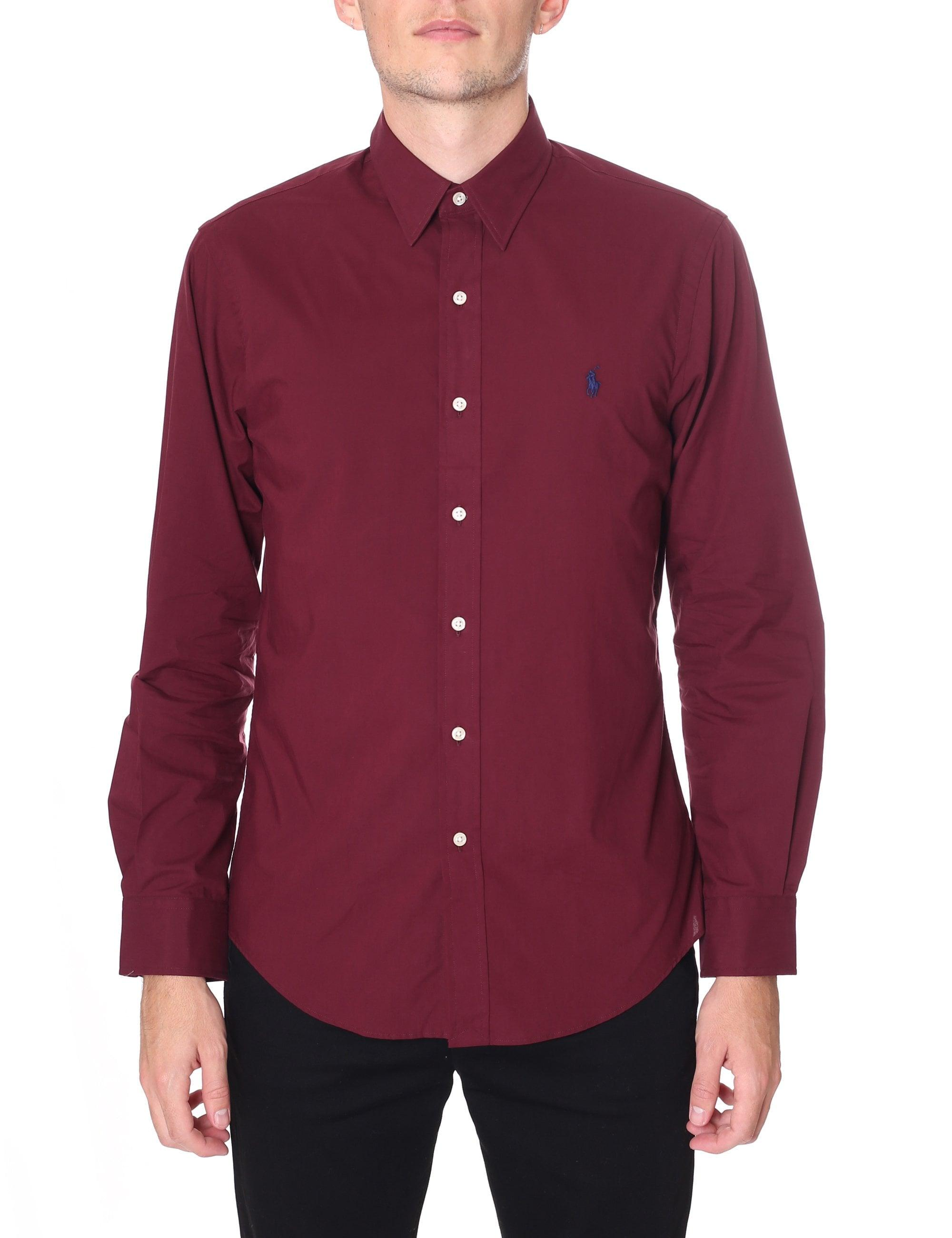 47f971a86 Polo Ralph Lauren Men s Slim Fit Long Sleeve Shirt Vintage Burgundy ...