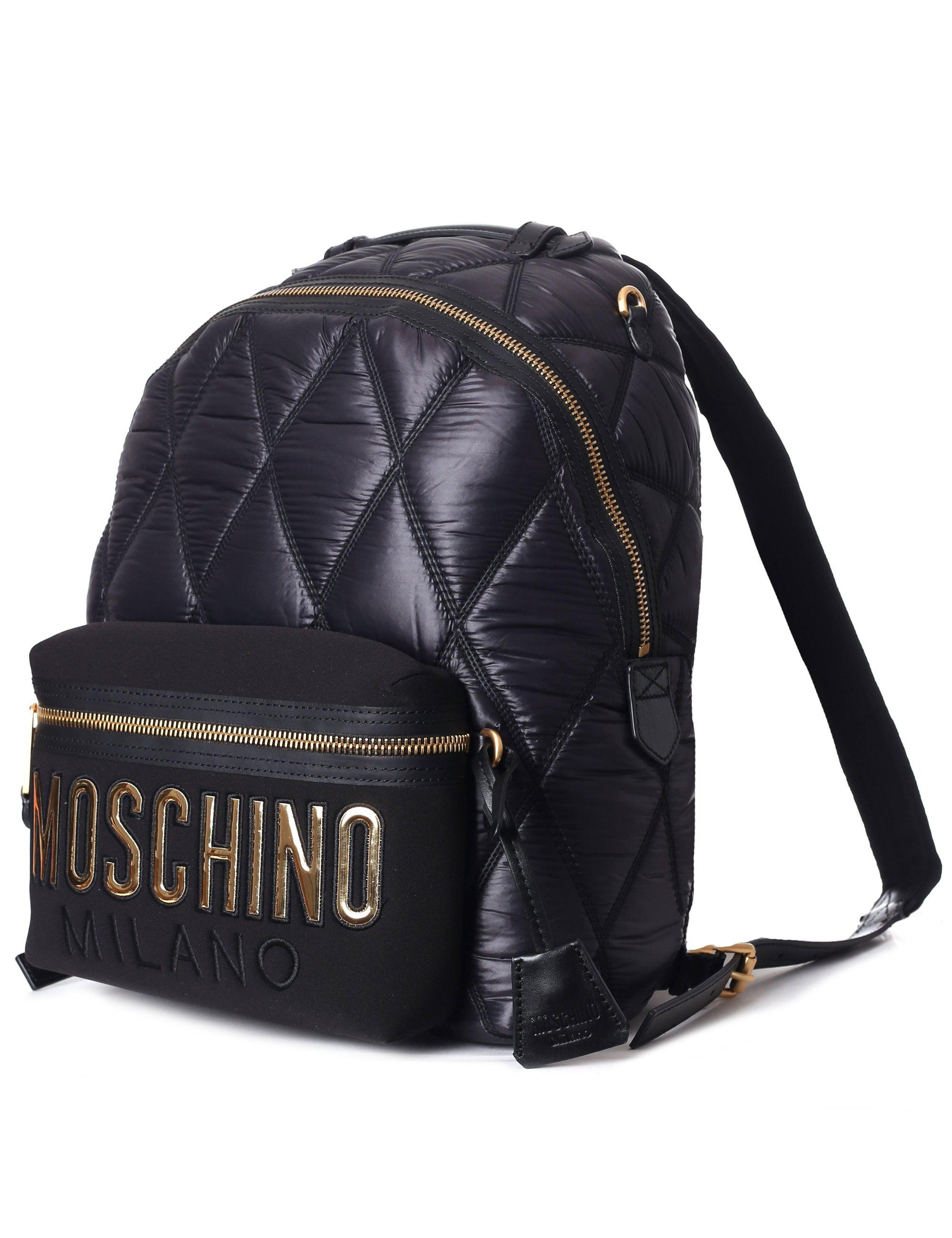 53f5cda911 Moschino Couture Women s Quilted Logo Backpack Black in Black - Lyst