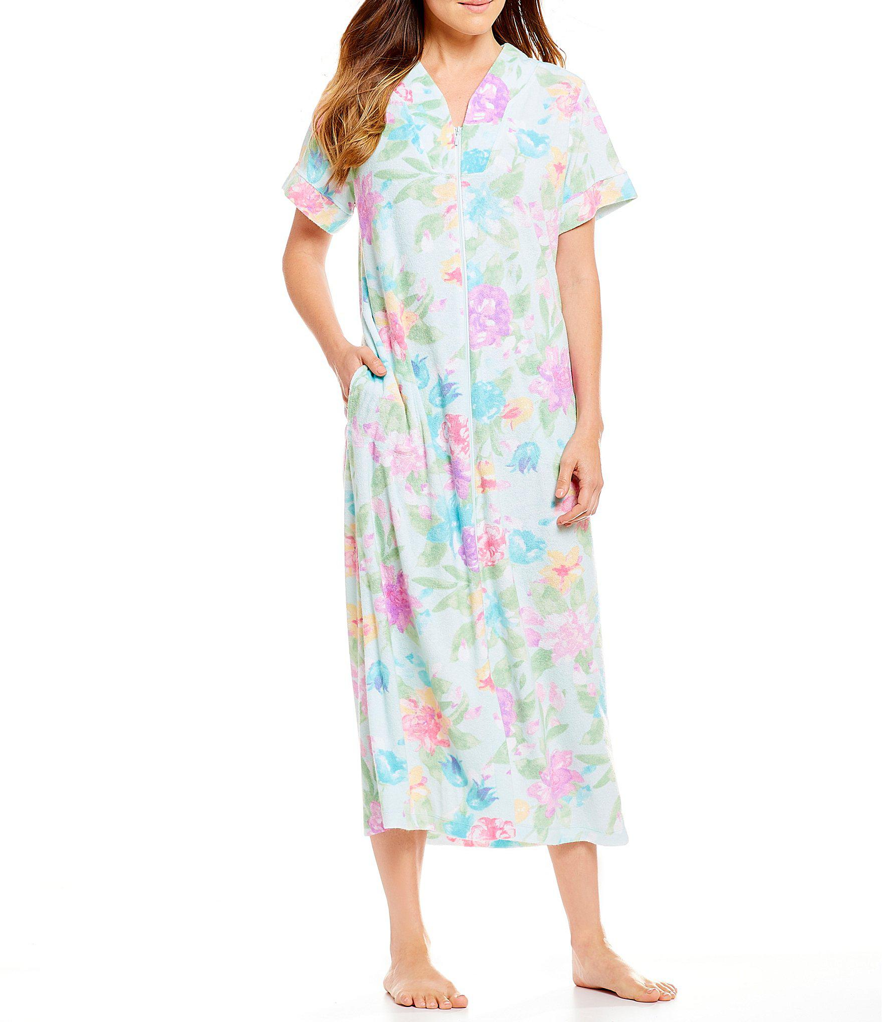 bbca674169 Lyst - Miss Elaine Floral-print Stretch Terry Long Zip-front Robe