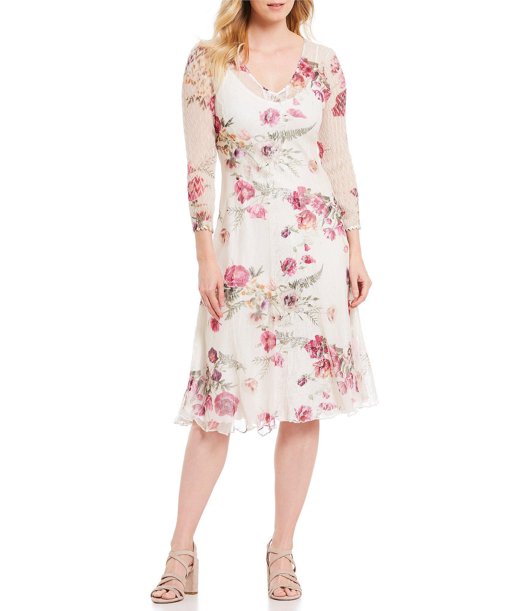9b601042ff45 Komarov. Women s V Neck Floral Print Midi Dress