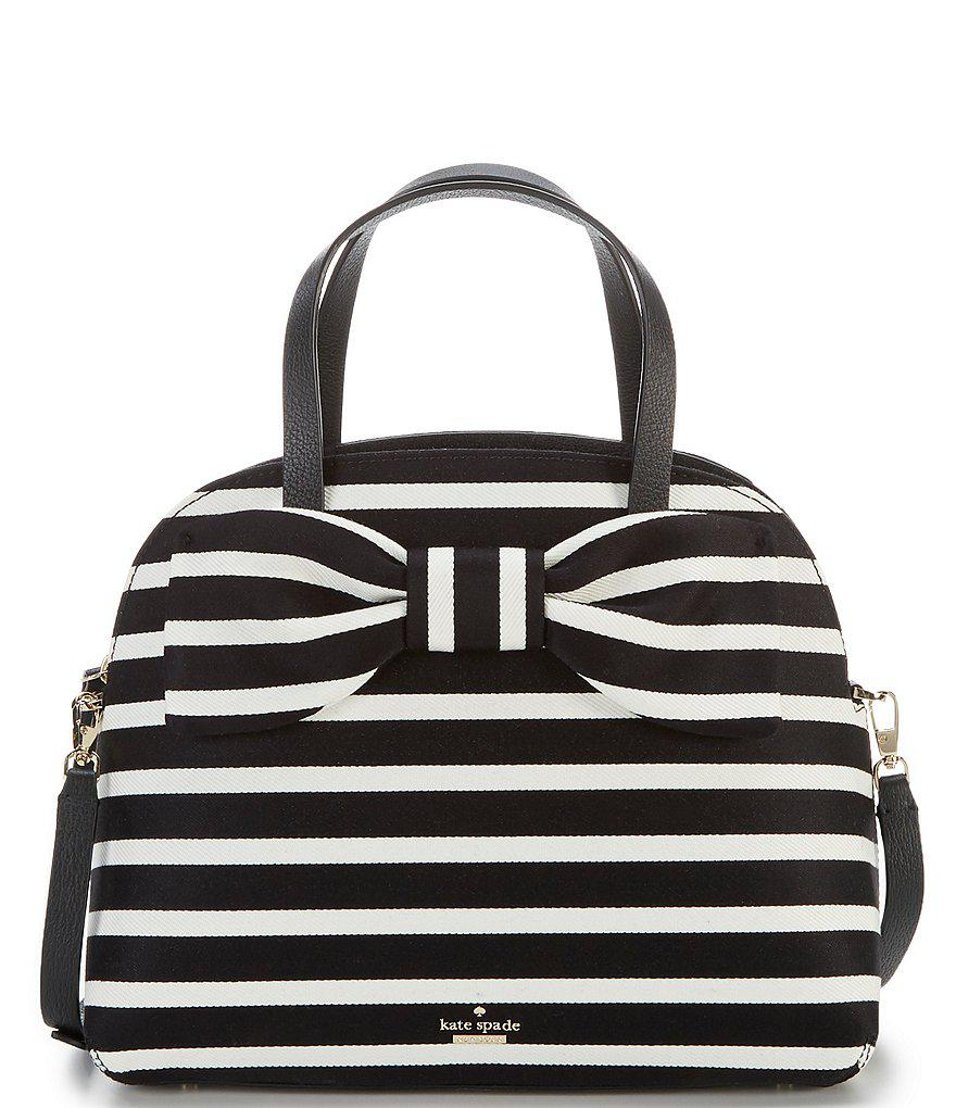 4d31397d393f Kate Spade Black Olive Drive Lottie Striped Satchel