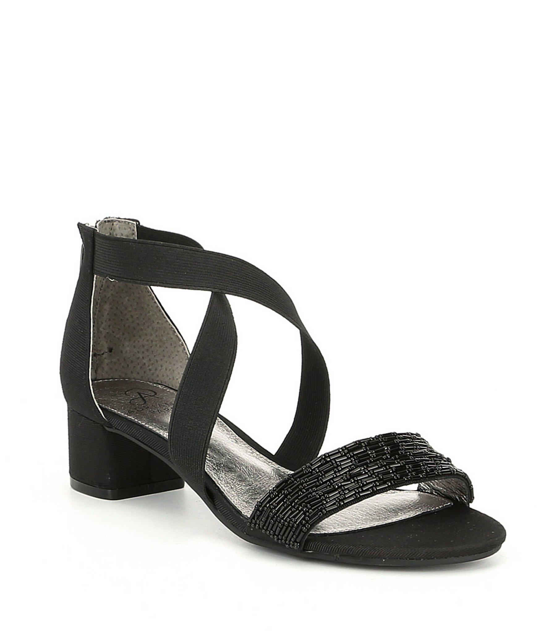992fbaf66 Adrianna Papell Teagan Beaded Block Heel Dress Sandals in Black - Lyst