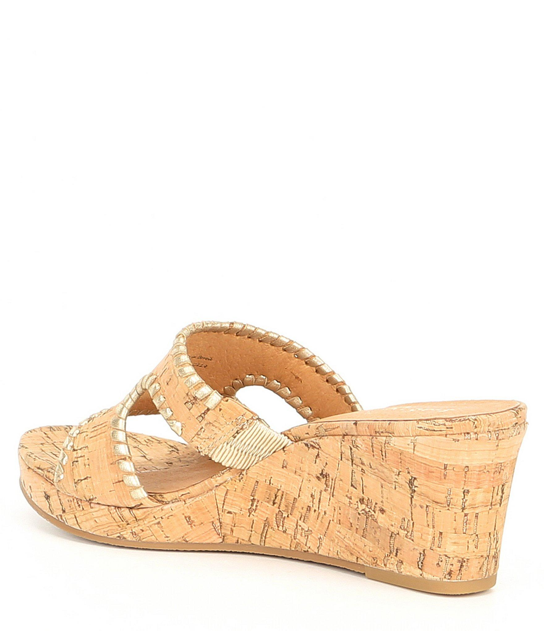 b04c228784c8 Jack Rogers - Multicolor Sloane Leather And Cork Mid Wedges - Lyst. View  fullscreen