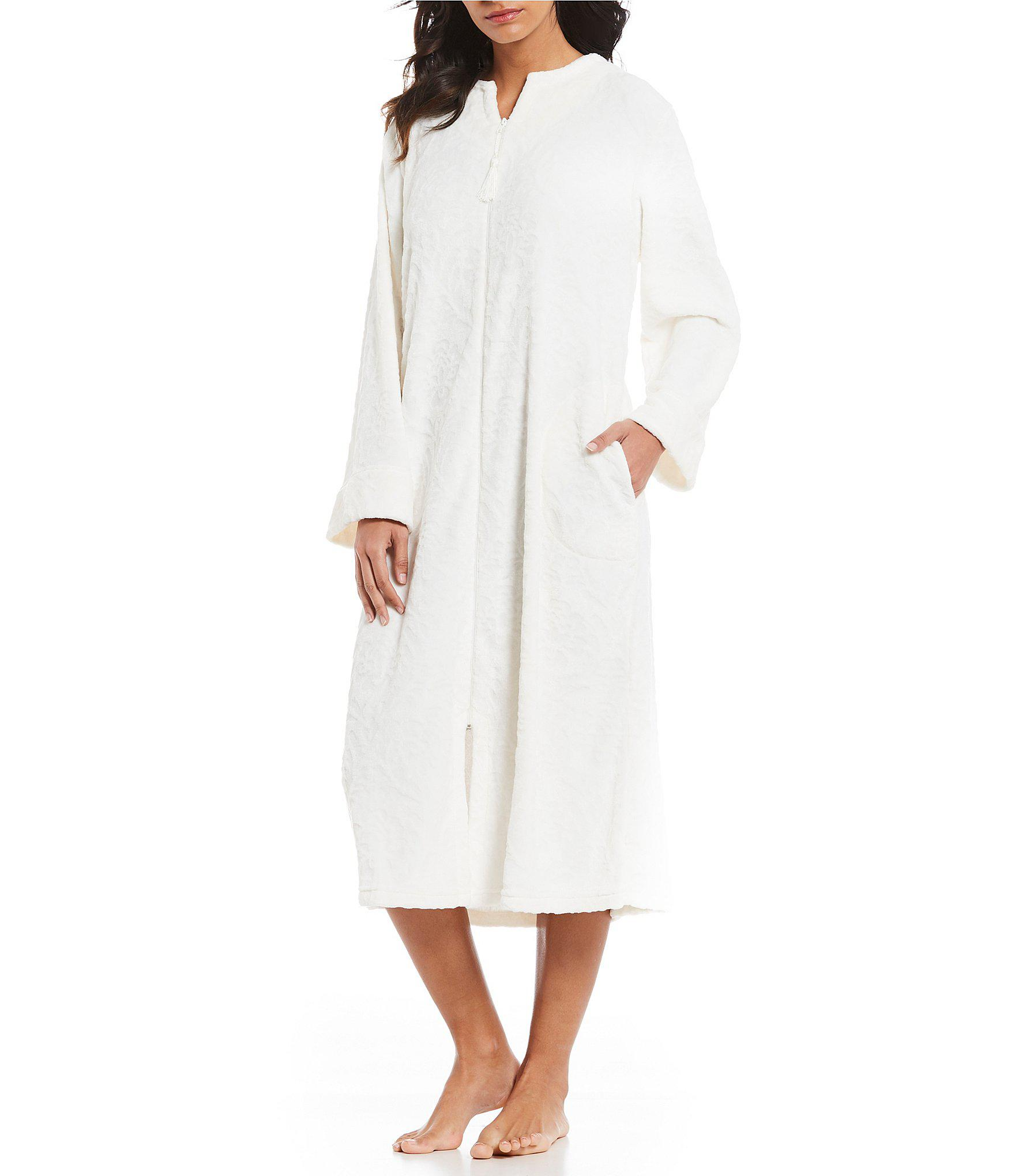 Lyst - Miss Elaine Damask French Fleece Long Zip-front Robe in White fecda539f