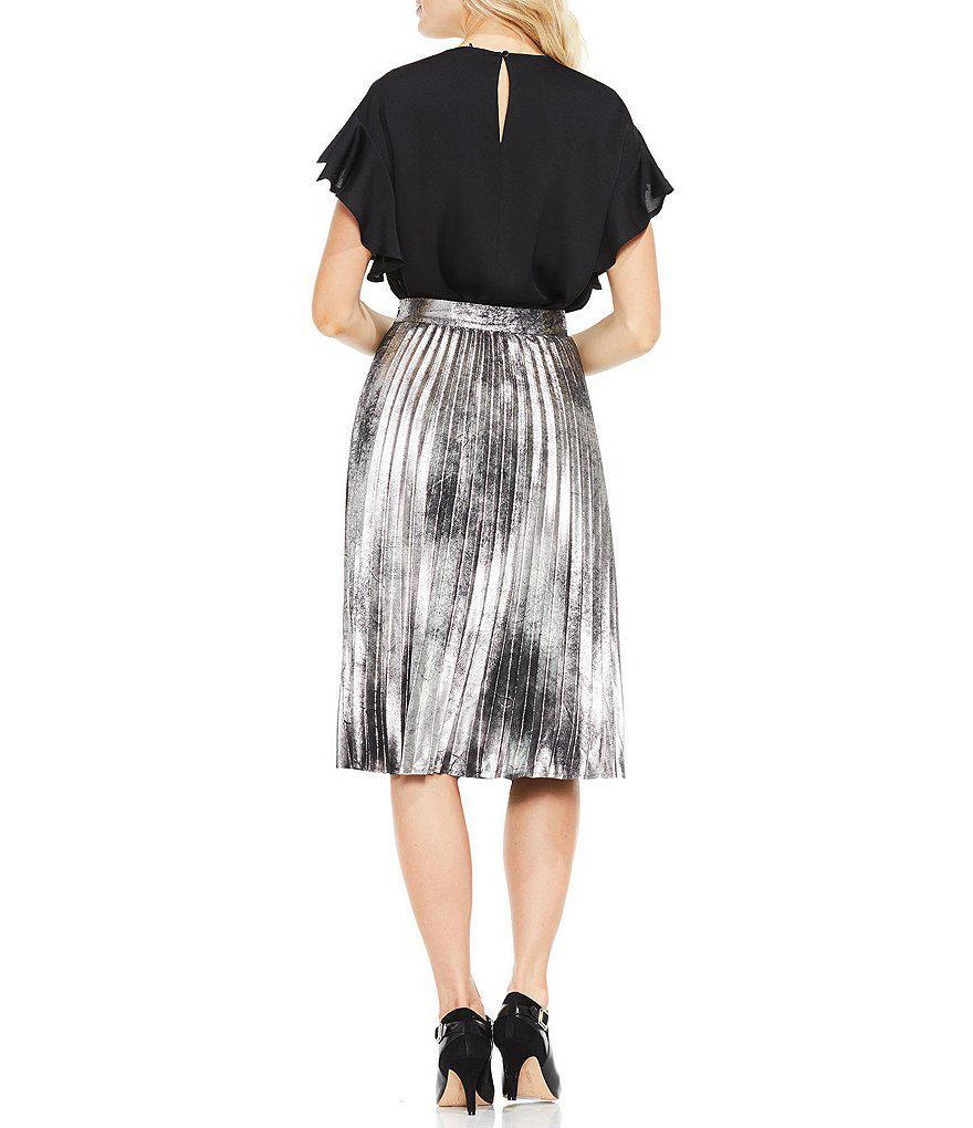 77d79fc028 Lyst - Vince Camuto Foiled Faux Suede Pleated Skirt in Black