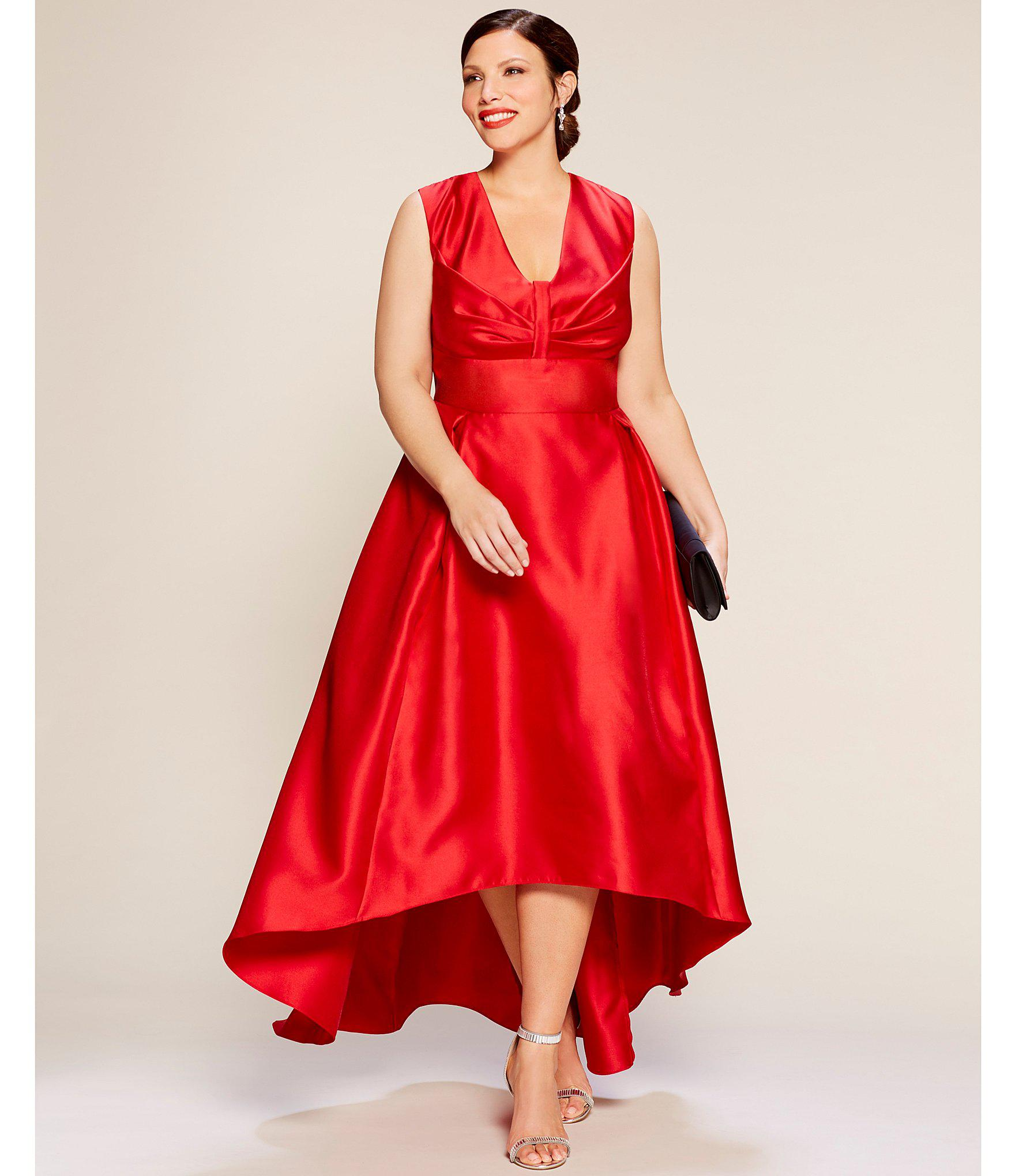 Plus Size Mikado Hi-low Gown