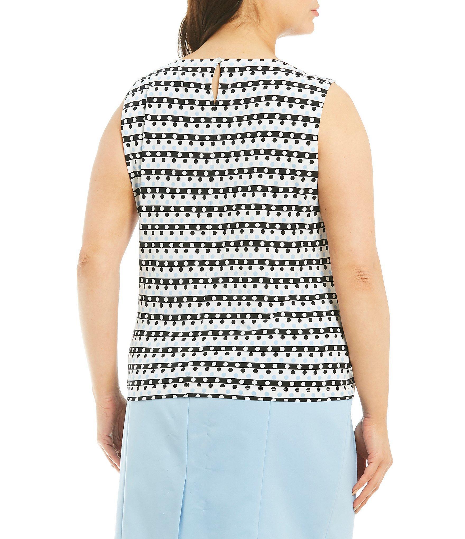 6401d8b1772 Calvin Klein - Multicolor Plus Size Dots Print Pleat Neck Top - Lyst. View  fullscreen