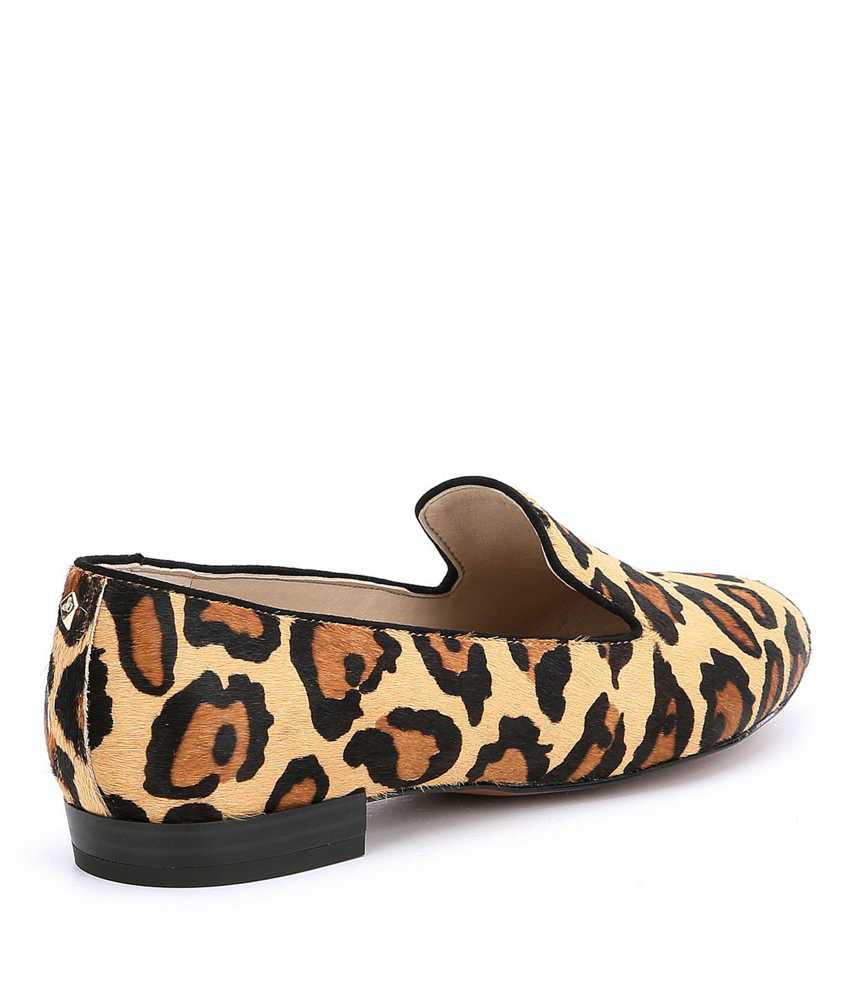0df42f55a0ff16 Lyst - Sam Edelman Jordy Leopard Brahma Hair Loafers in Brown