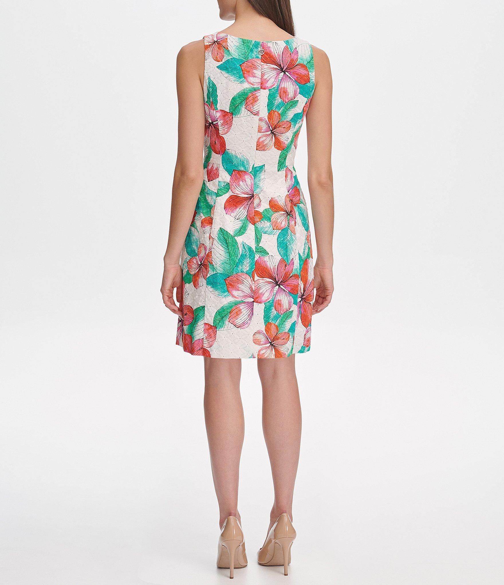 b859b6f49b7 Tommy Hilfiger - White Eyelet Hibiscus Floral Print Fit & Flare Dress - Lyst.  View fullscreen