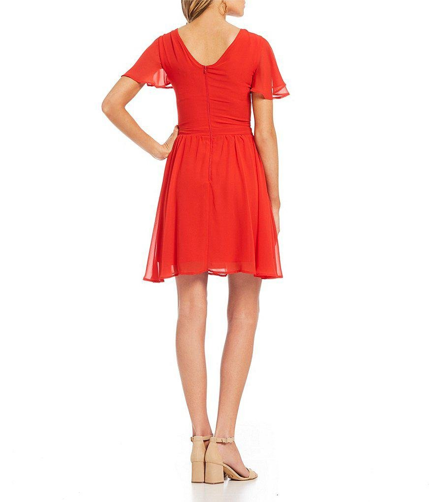 ae9e23d683d Lyst - Sequin Hearts Flutter Sleeve Embroidered A-line Dress in Red