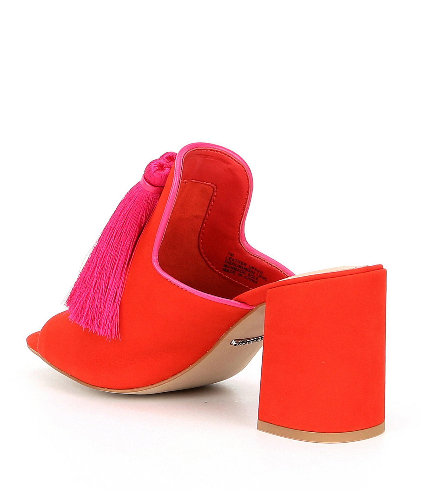 3725d7bd507 Gianni Bini - Red Moneekas Block Heel Tassel Mules - Lyst. View fullscreen