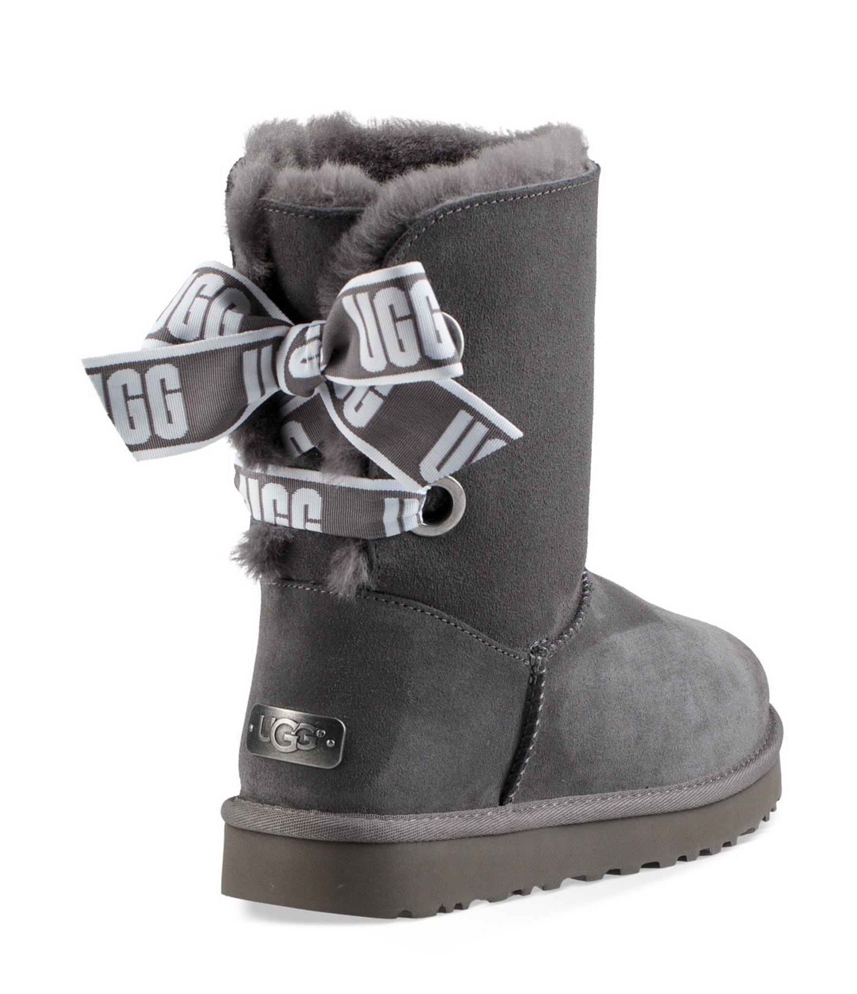 3eb596ff34b Ugg Gray Custom Bailey Bow Short Boots