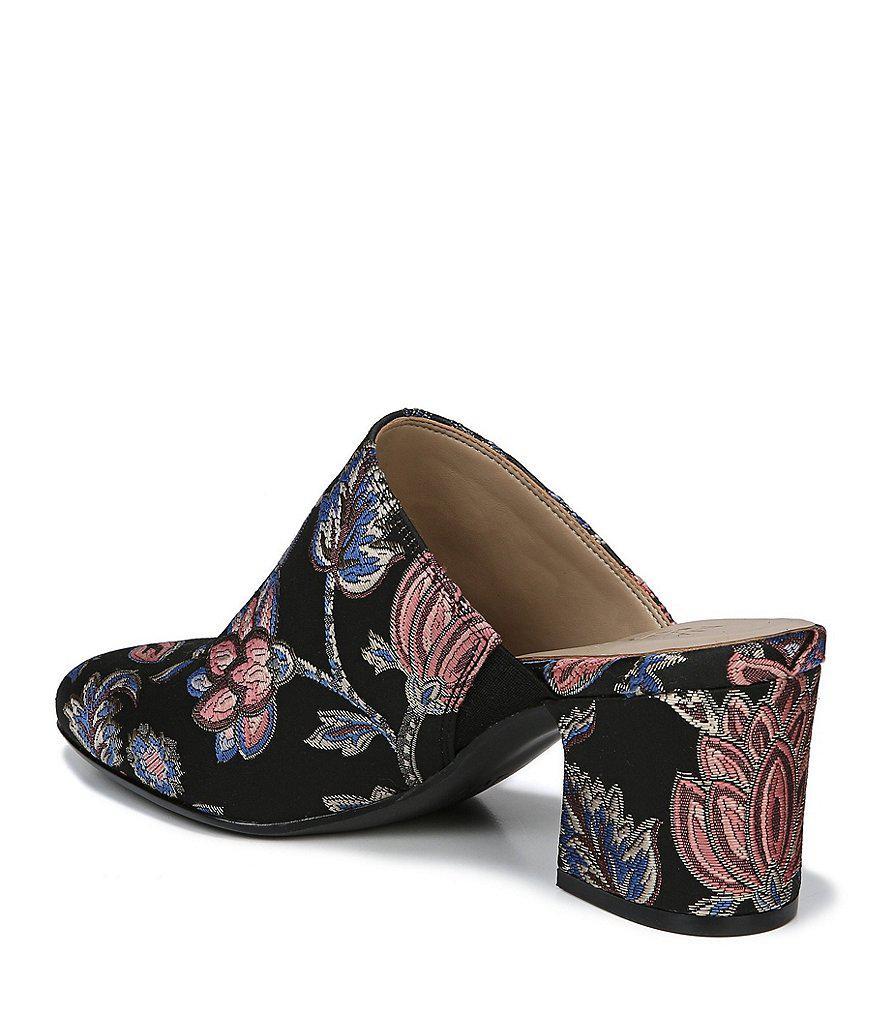 Daria Paisley Brocade Fabric Block Heel Mules NU1ZIwcg