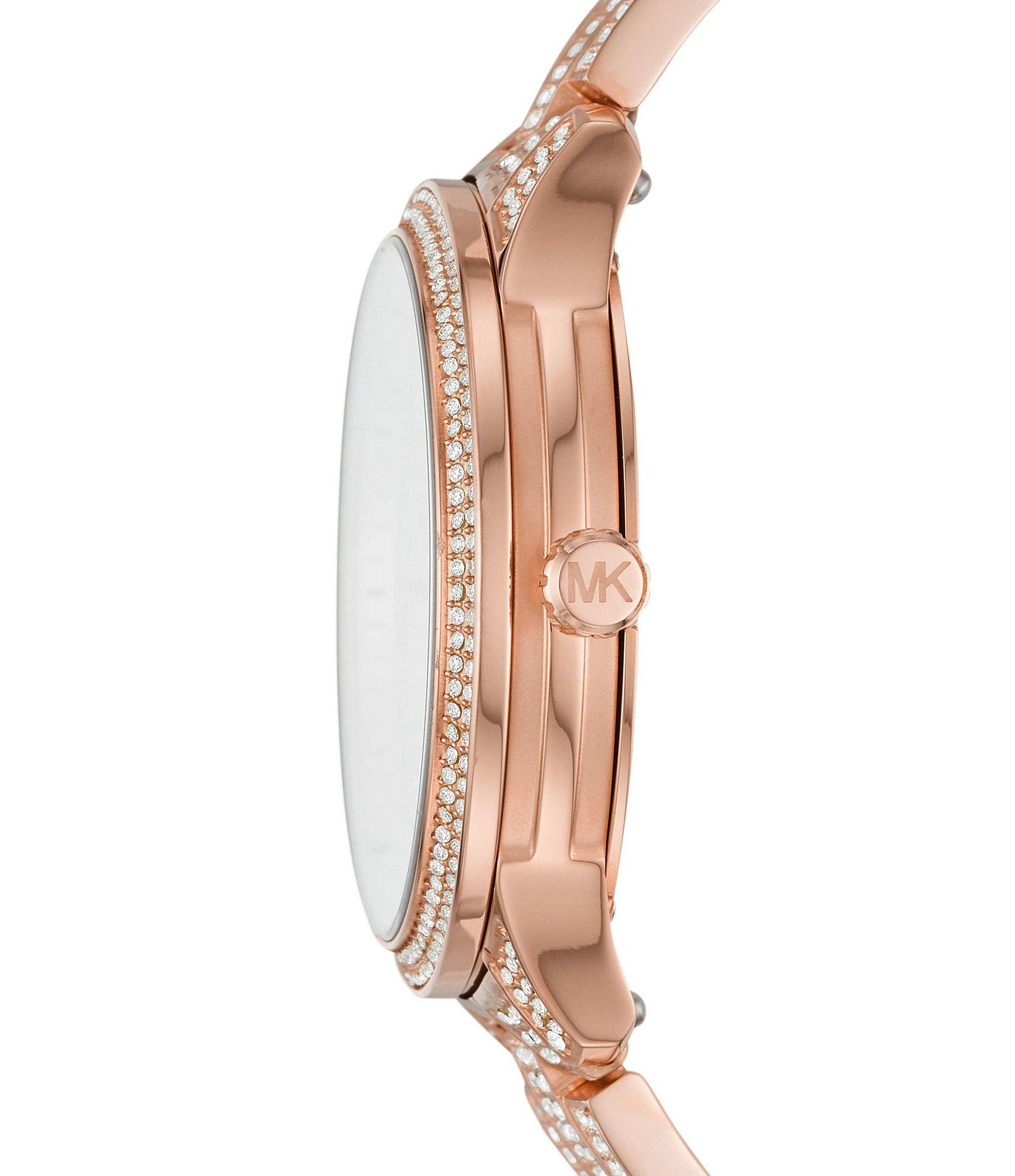 afcd70e72600 Michael Kors - Metallic Runway Multifunction Pave Rose Gold-tone Stainless  Steel Watch - Lyst. View fullscreen