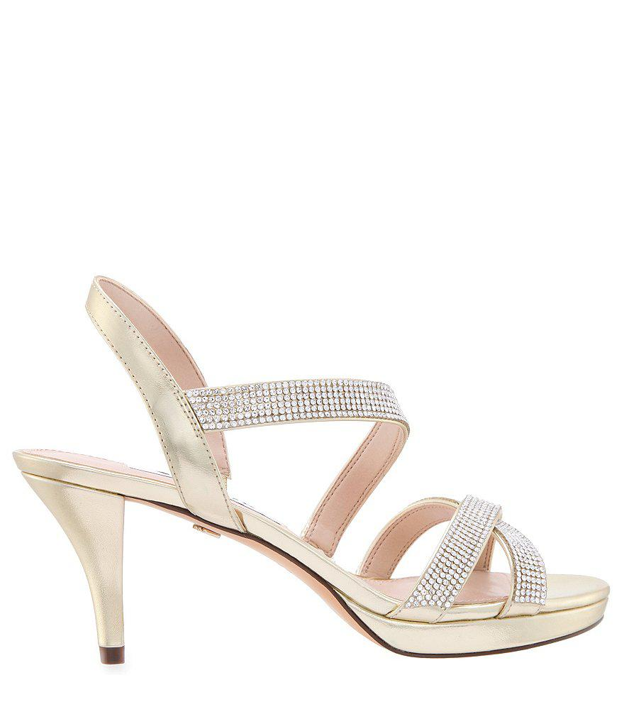 Nizana Metallic Jeweled Strappy Dress Sandals quWdbz