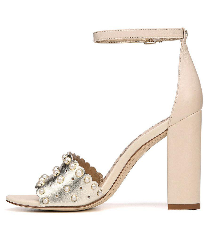 Sam Edelman Yaria Metallic Laser Perforated Pearl Embellished Block Heel Dress Sandals