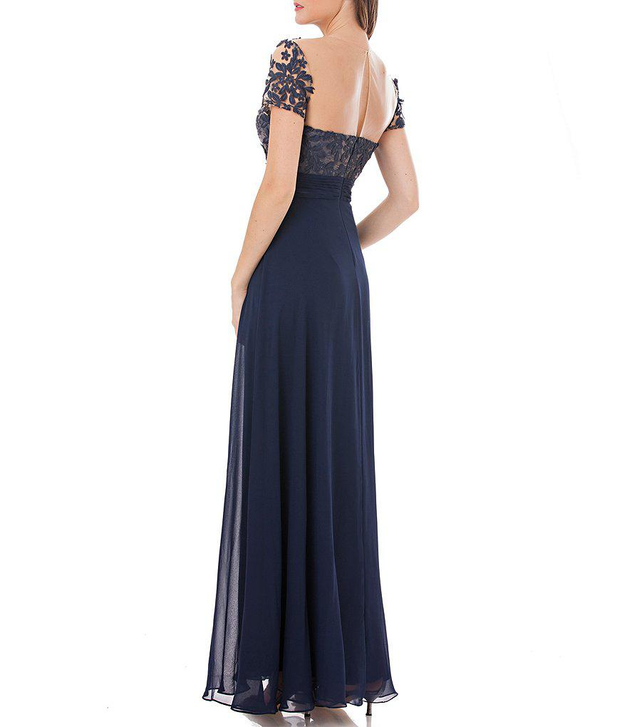 Js collections dress sleeveless pleated beaded a-line evening gown