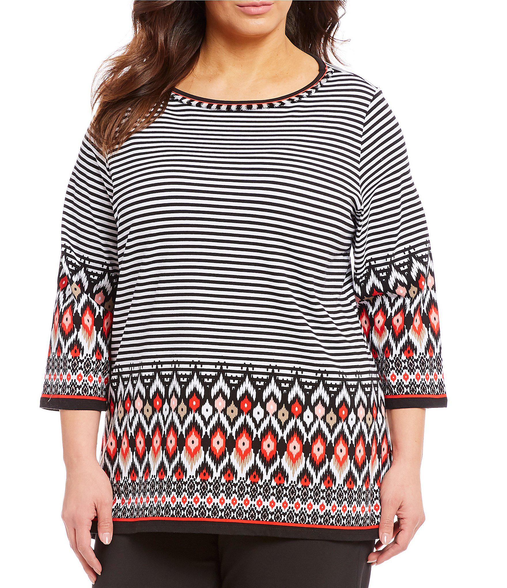 a490cac666fb4 Lyst - Ruby Rd Plus Size Ikat Stripe Border Print Embellished Boat ...