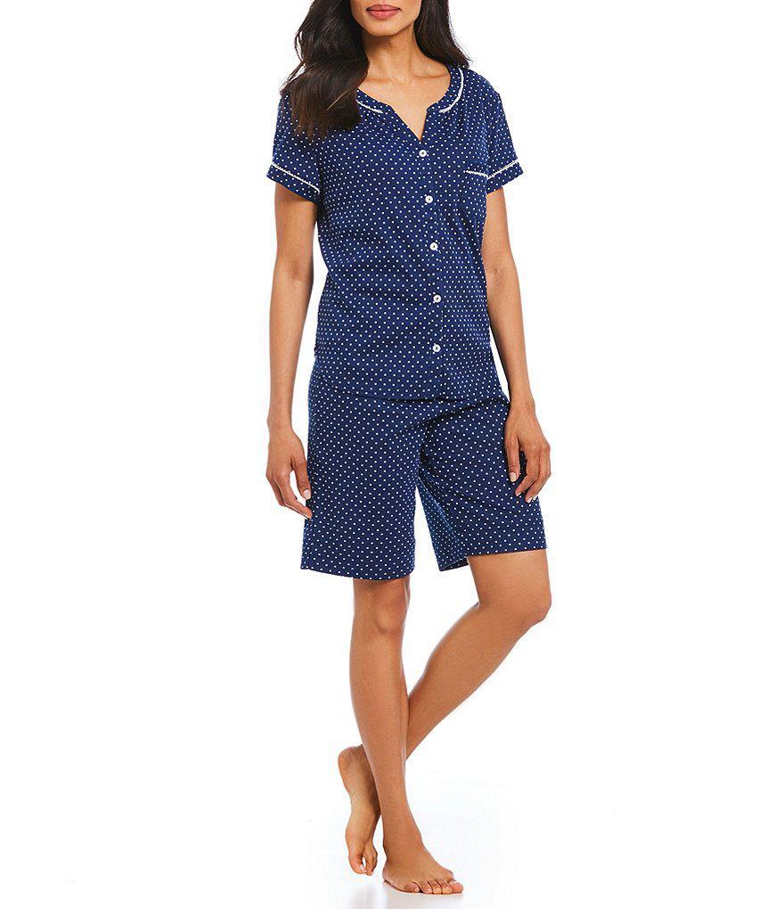 5176814127 Lyst - Karen Neuburger Dot-print Bermuda Pajama Set in Blue