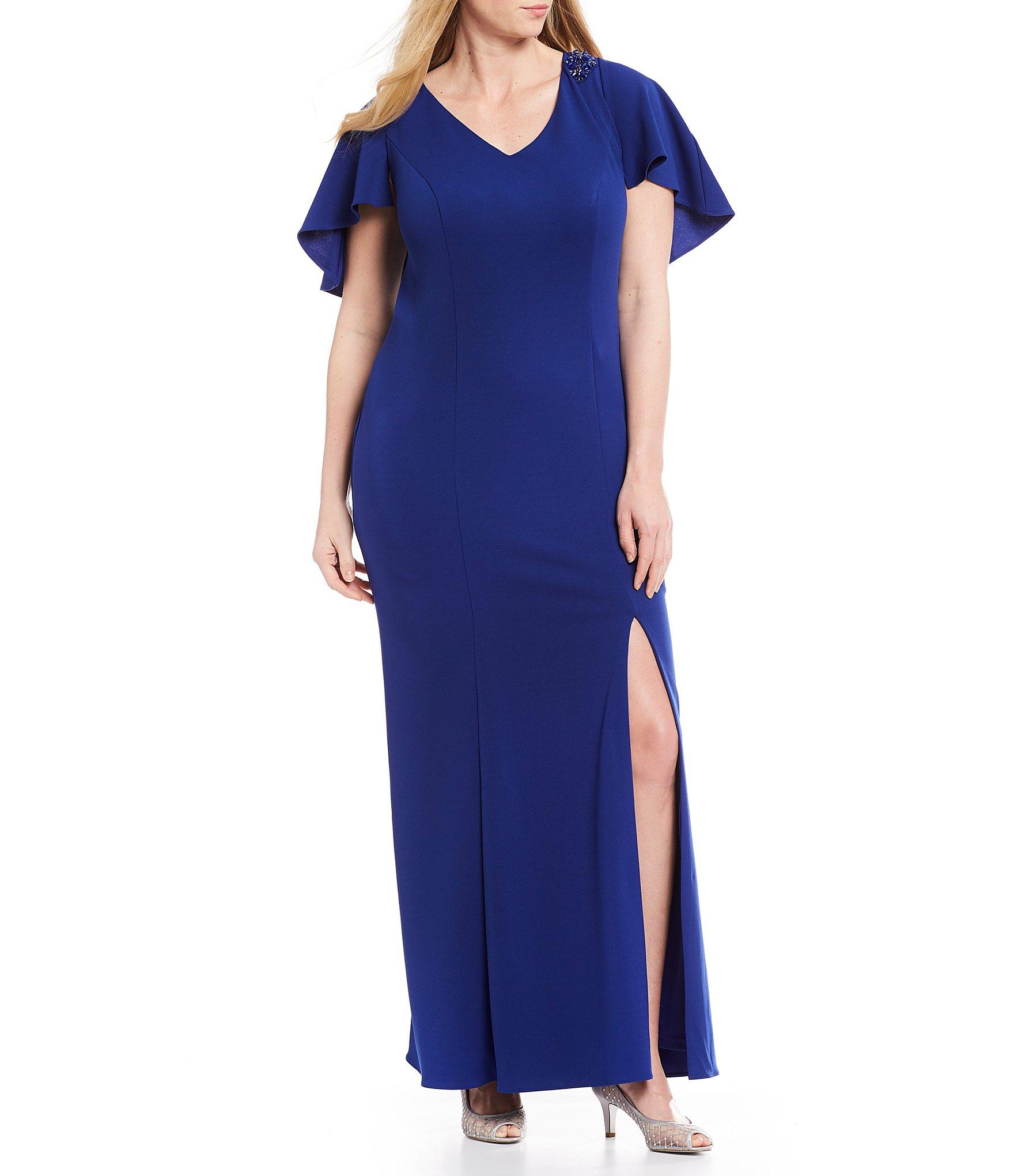 e09cc2188be Lyst - Adrianna Papell Plus Size Capelet Front Slit Crepe Gown in Blue