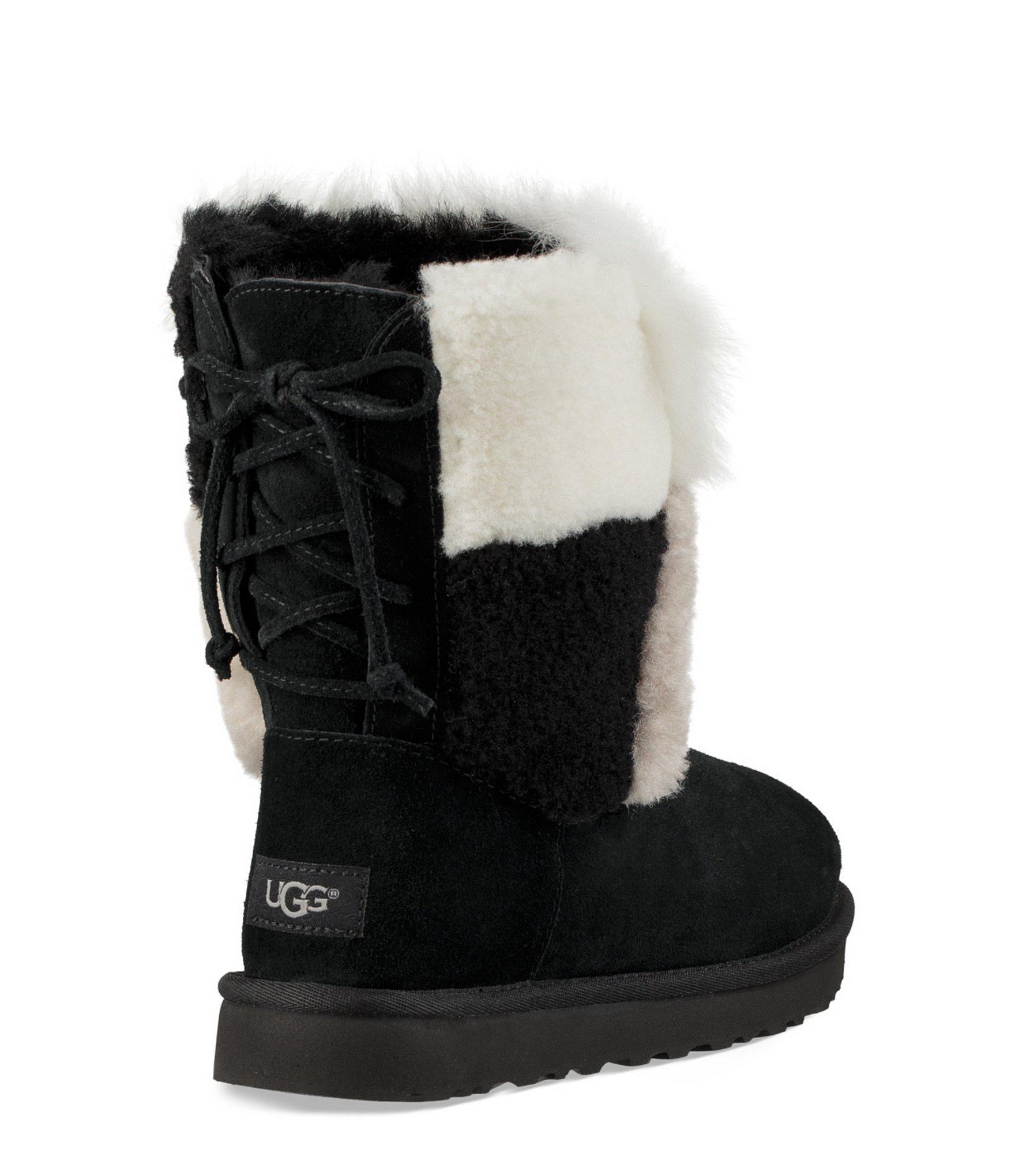ef9bba9e430 Ugg Black Classic Short Patchwork Fluff Boots