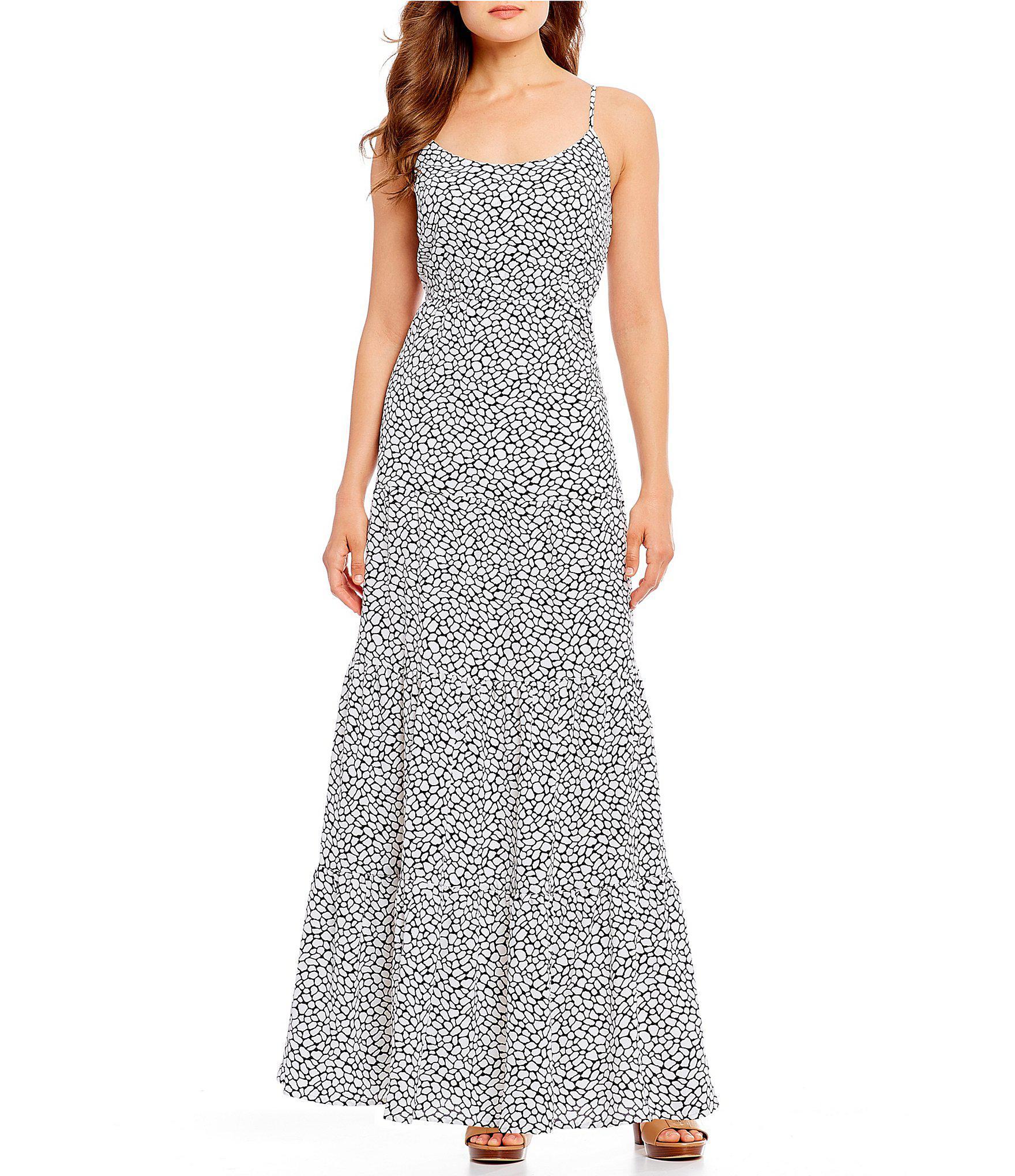 5e94670114d Lyst - MICHAEL Michael Kors Graphic Leopard Print Tiered Maxi Dress ...